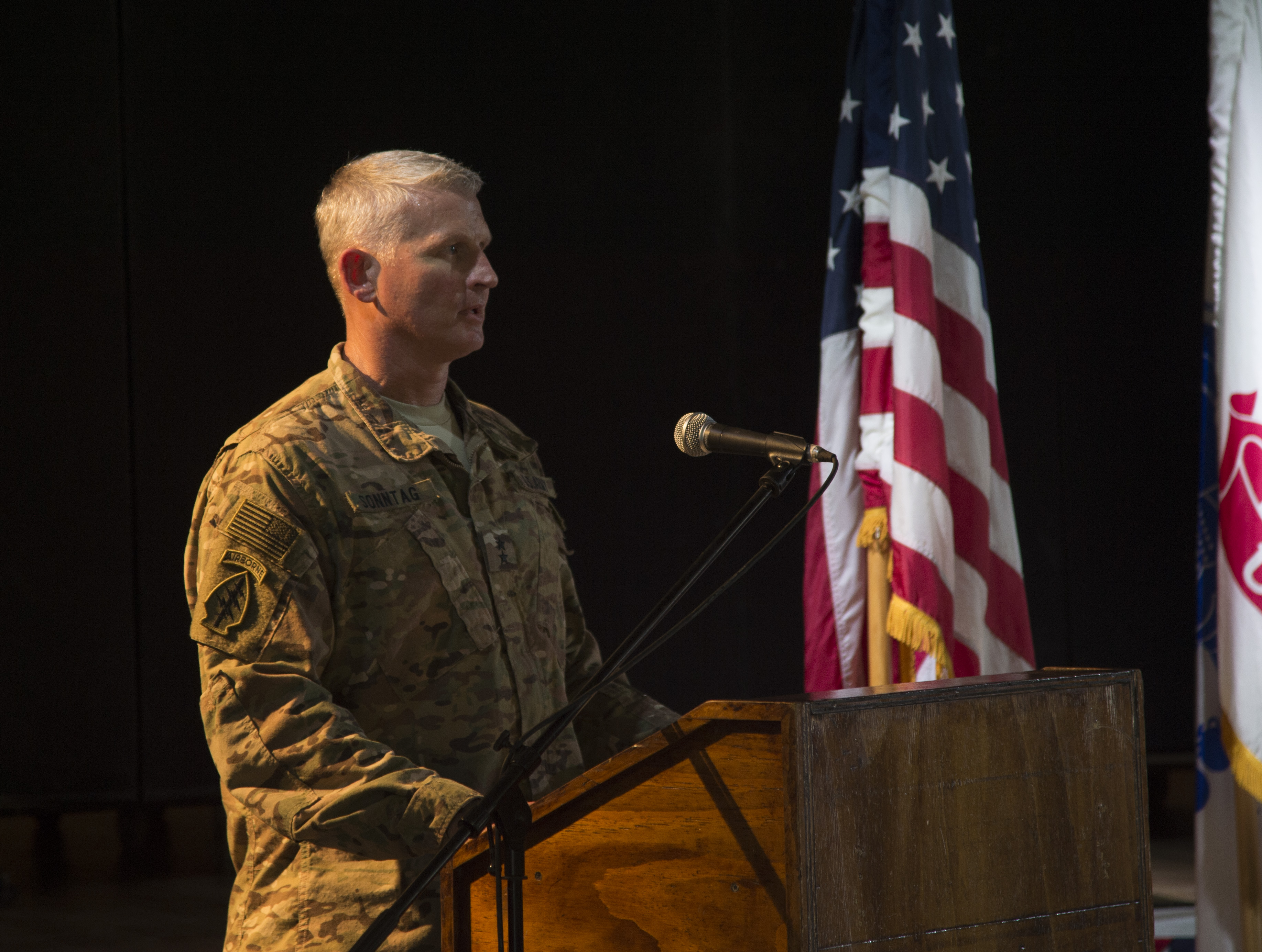 U.S. Army Maj. Gen. Kurt Sonntag, Combined Joint Task Force - Horn of Africa commanding general, gives remarks during a 9/11 remembrance ceremony held Sept. 11, 2016, at Camp Lemonnier, Djibouti. The ceremony was organized and conducted by Fiscal Year 2017 Chief Petty Officer selectees from Camp Lemonnier and Combined Joint Task Force - Horn of Africa.  (U.S. Air Force photo by Staff Sgt. Eric Summers Jr.)
