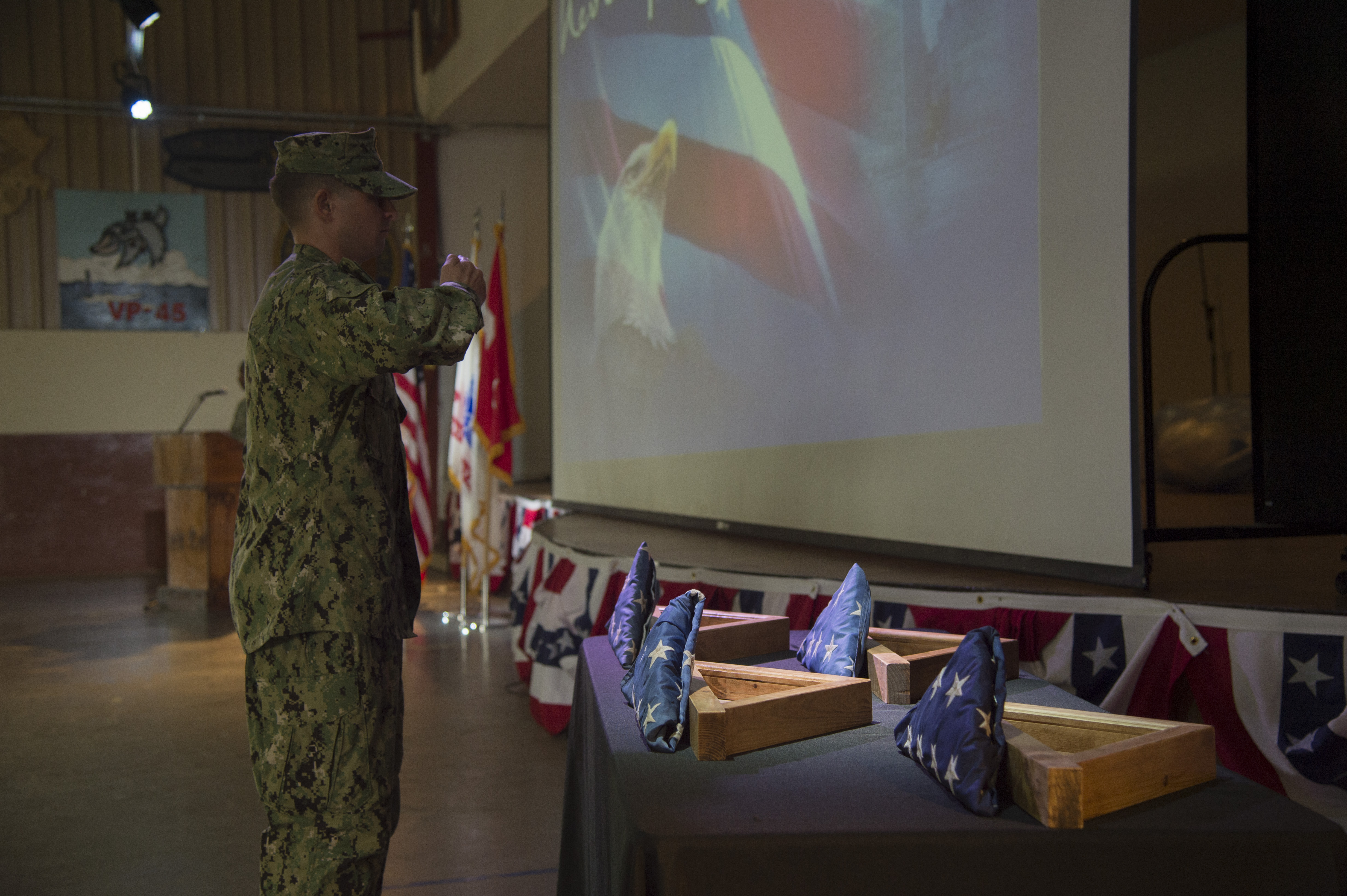 U.S. Navy Master at Arms 1st Class Luis Diaz gives remarks during a 9/11 remembrance ceremony held Sept. 11, 2016, at Camp Lemonnier, Djibouti. Diaz served on the New York City Police Department during the attacks on 9/11. The ceremony was organized and conducted by Fiscal Year 2017 Chief Petty Officer selectees from Camp Lemonnier and Combined Joint Task Force - Horn of Africa.  (U.S. Air Force photo by Staff Sgt. Eric Summers Jr.)