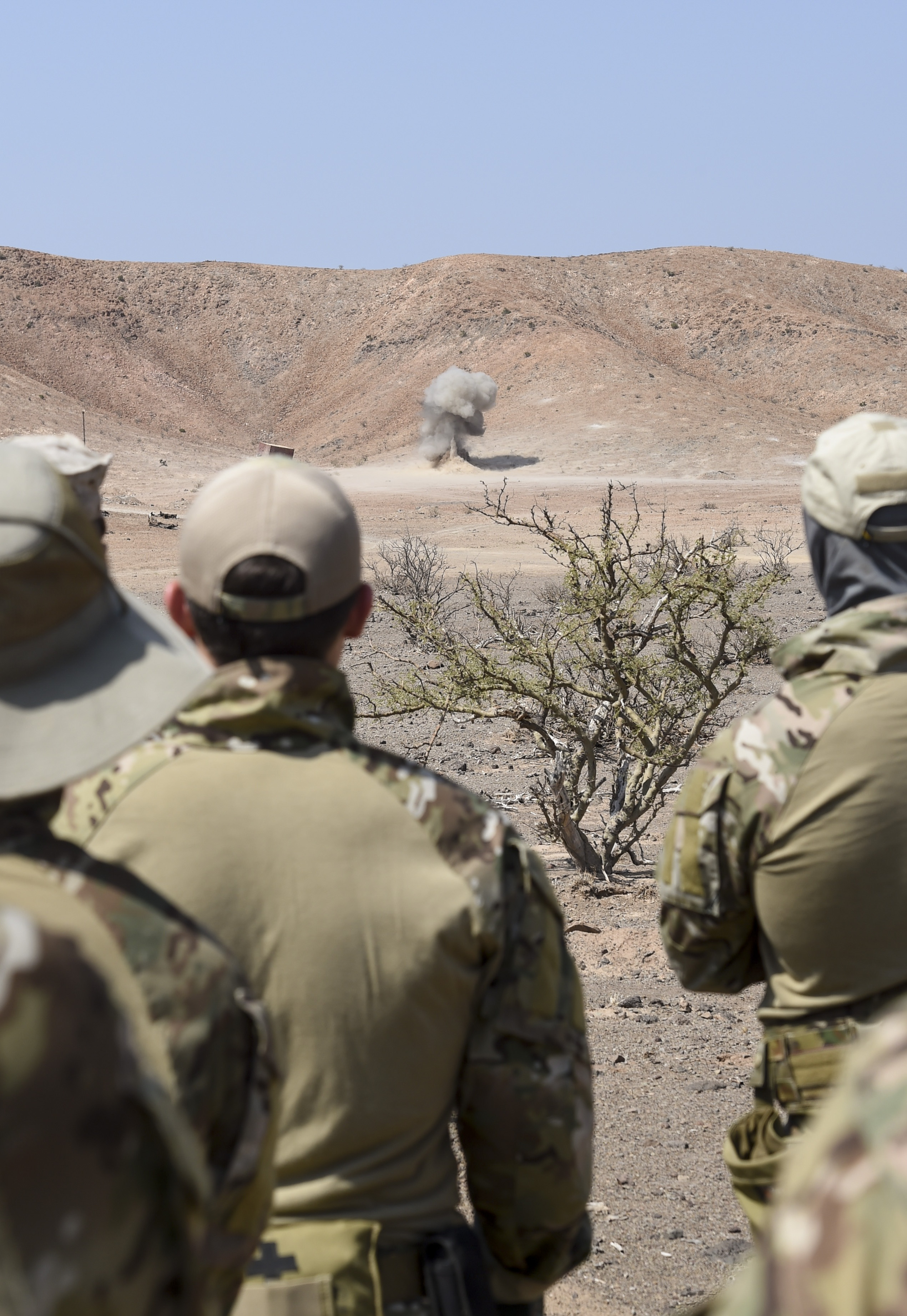 U.S. Navy Sailors with Explosive Ordnance Disposal (EOD) Mobile Unit 6, Task Force Sparta, and a French officer observe the detonation of unexploded ordnance (UXO) encountered during their range sweep from a safe area, Oct. 22, 2016, in Djibouti. During this operation, Navy and French EOD personnel worked bilaterally to safely clear their respective areas of UXO. (U.S. Air Force photo by Staff Sgt. Penny Snoozy)
