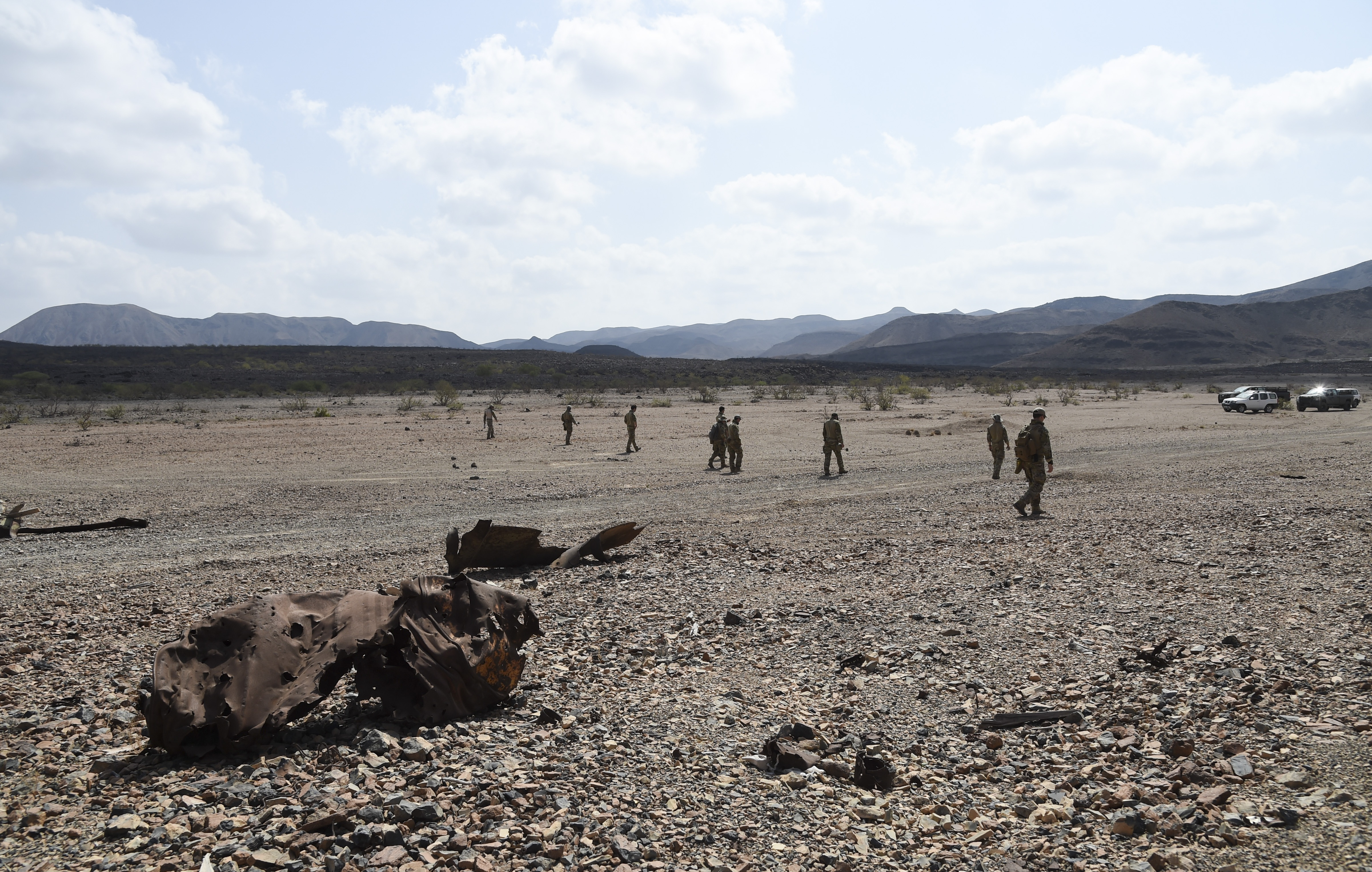 U.S. Navy Sailors with Explosive Ordnance Disposal (EOD) Mobile Unit 6, Task Force Sparta, move their line forward while inspecting a section of a range, Oct. 22, 2016, in Djibouti. During this operation, Navy and French EOD personnel worked bilaterally to safely clear their respective areas of unexploded ordnance. (U.S. Air Force photo by Staff Sgt. Penny Snoozy)