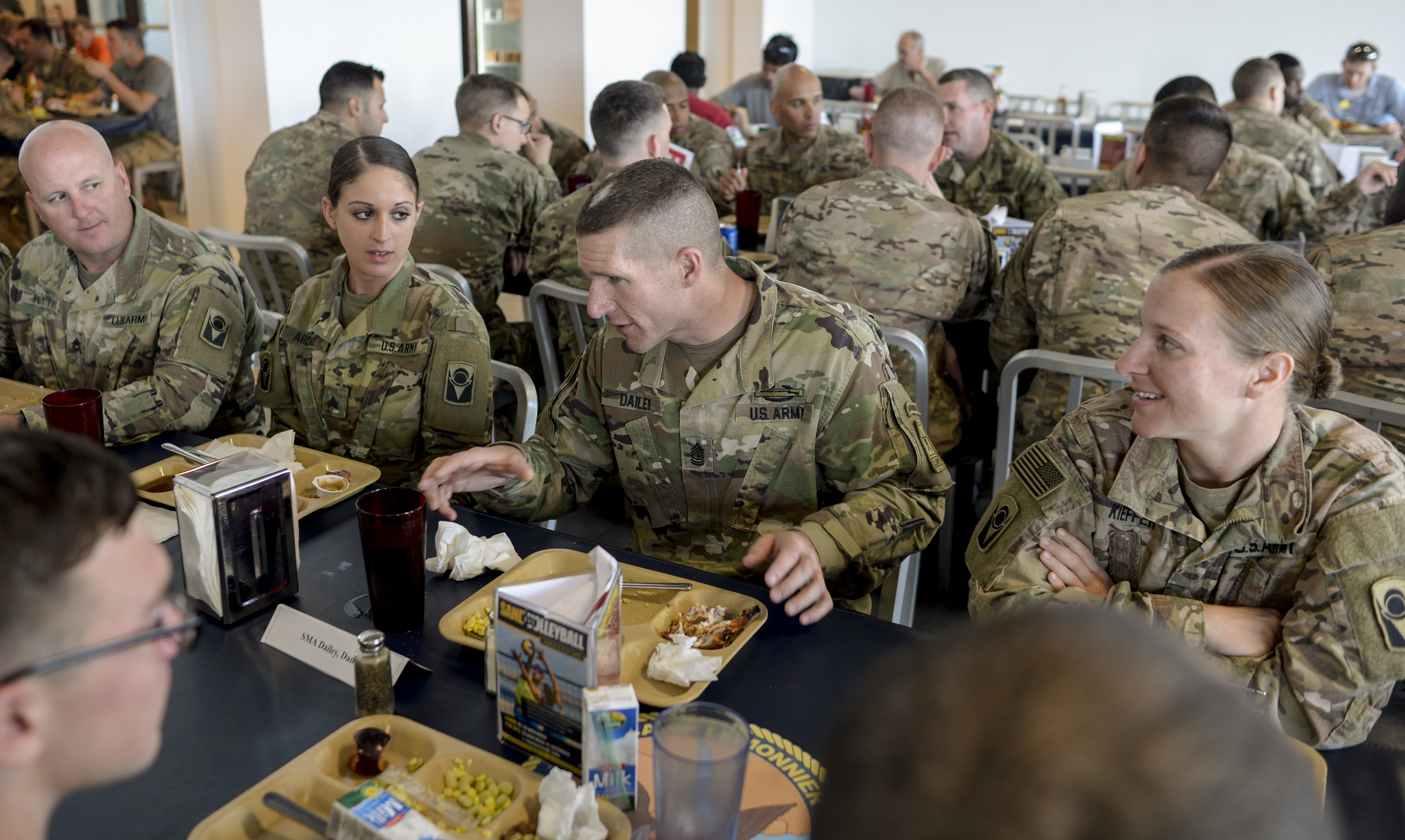 CAMP LEMONNIER, DJIBOUTI- Sgt. Maj. of the Army Daniel Dailey eats lunch with fellow enlisted U.S. Soldiers and discusses the U.S. Army's support of missions in Africa during a visit Nov. 20, 2016. SMA Dailey's focus was on soldiers assigned to Camp Lemonnier and the challenges they face in Eastern Africa. (U.S. Air National Guard photo by Staff Sgt. Christian Jadot)