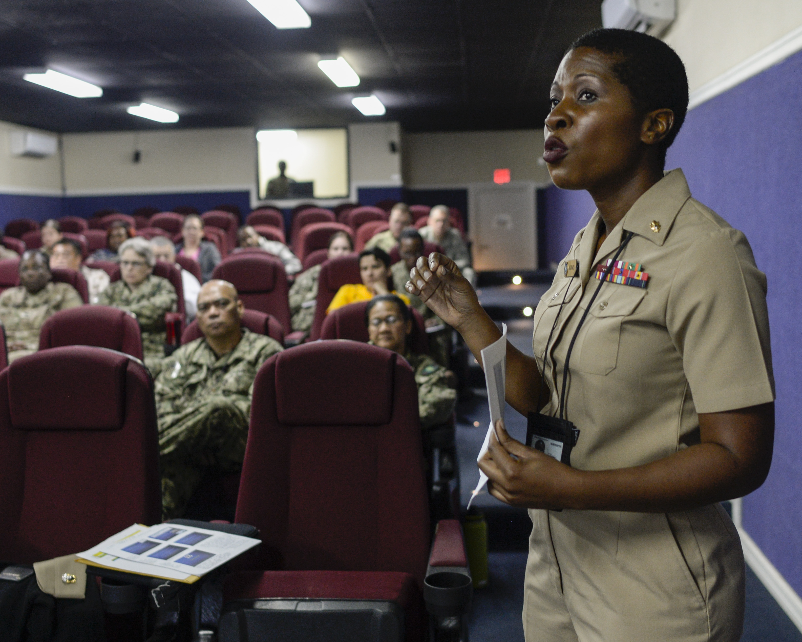 CAMP LEMONNIER, DJIBOUTI- Lt. Cmdr. Nehkonti Adams, Doctor, Internal Medicine and Infectious Diseases, details how traditional medicine interacts with modern medicine in the cultures of developing nations during the Tropical Military Medicine Course at Camp Lemonnier, 15 Nov. 2016.  The Tropical Medical course supports the operational needs of AFRICOM and the Special Operations Command and is a requirement for all medical professionals deploying to provide health care on the African continent.