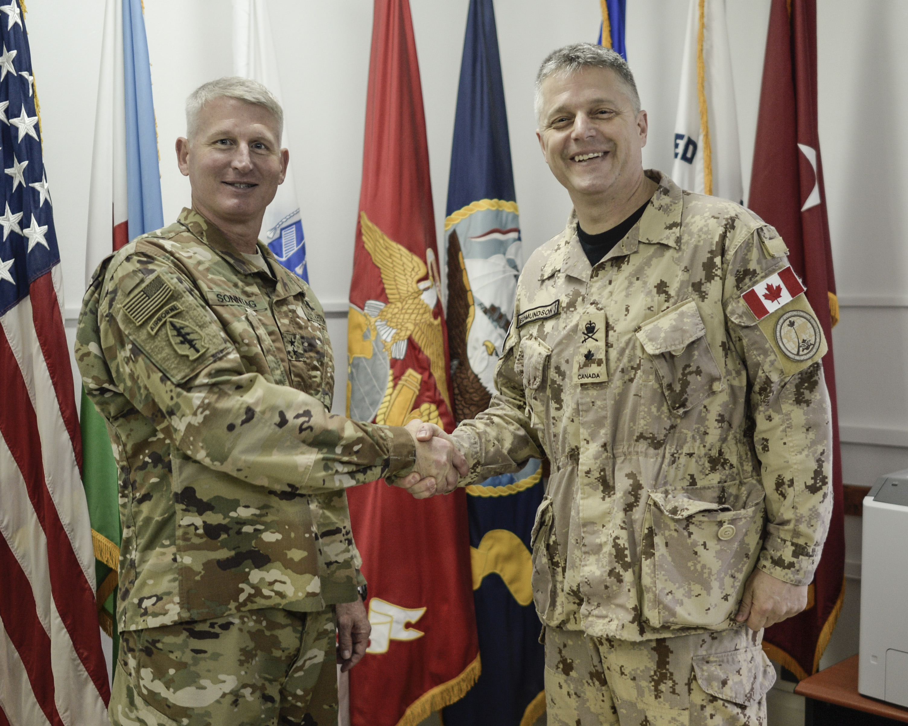 Royal Canadian Navy Commodore Haydn Edmundson, P-Commander, meets with U.S. Army Major Gen. Kurt Sonntag, Joint Task Force-Horn of Africa commander, while visiting Camp Lemonnier Nov. 28, 2016.  Commodore Edmundson will take command of Combined Task Force 150 (CTF-150) Dec. 16, 2016.  Re-established post 9/11, CTF-150 is a 25-nation coalition naval task force coordinated by the Combined Maritime Forces based in Manama, Bahrain. Its main functions are to monitor, inspect, board and stop suspect shipping and terrorism in the Horn of Africa.