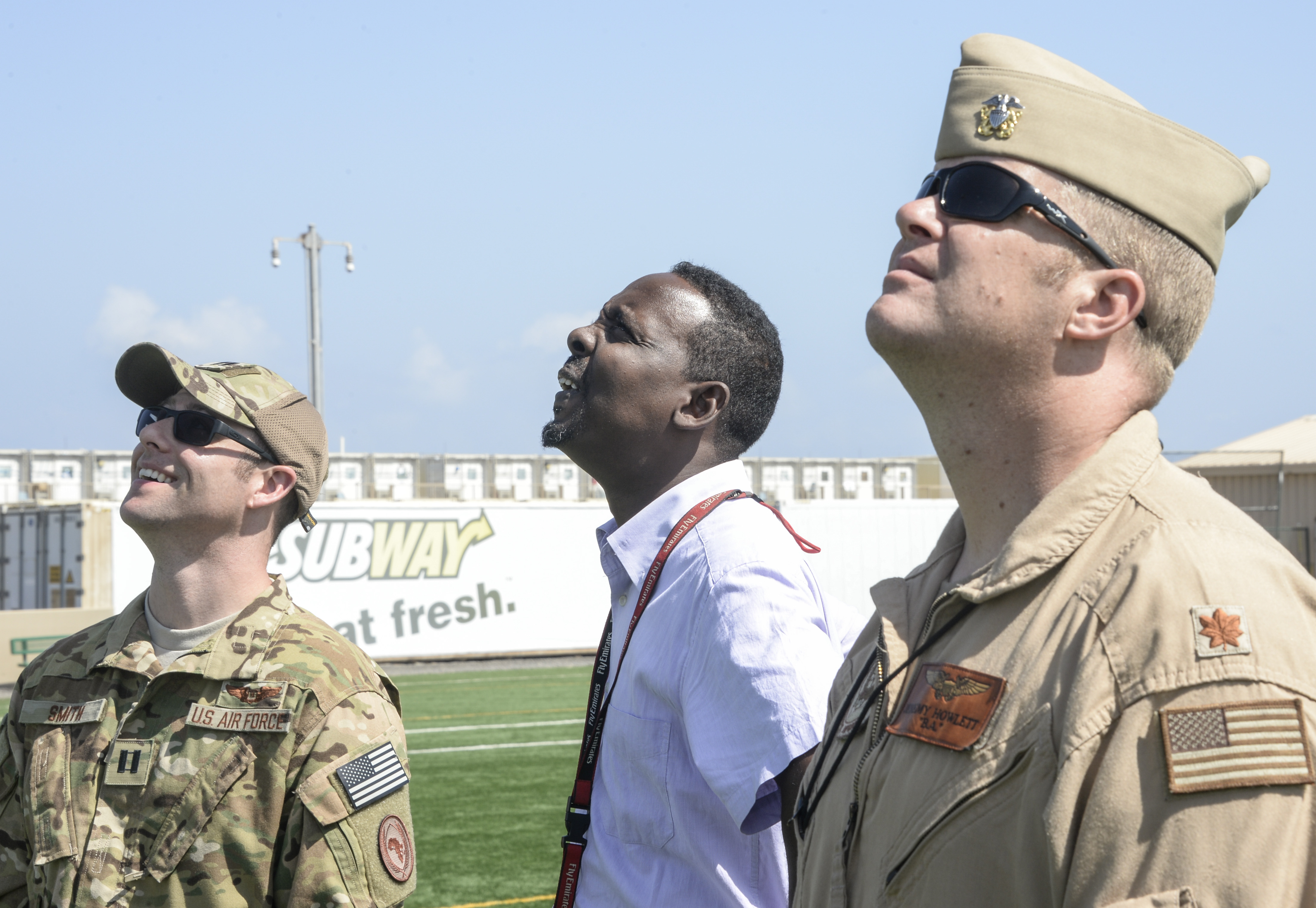 CAMP LEMONNIER, DJIBOUTI- U.S. and Djibouti officials observe the launch of a weather balloon as part of the Upper Air Sounding Project at Camp Lemonnier, Dec. 8, 2016. The Upper Air Sounding Project is a joint venture between the Horn of Africa and the special operation forces on behalf of Special Operations Command Africa. The weather balloon demonstration was to help the government of Djibouti understands the effects of a balloon launch would have on the air traffic in the surrounding air space.