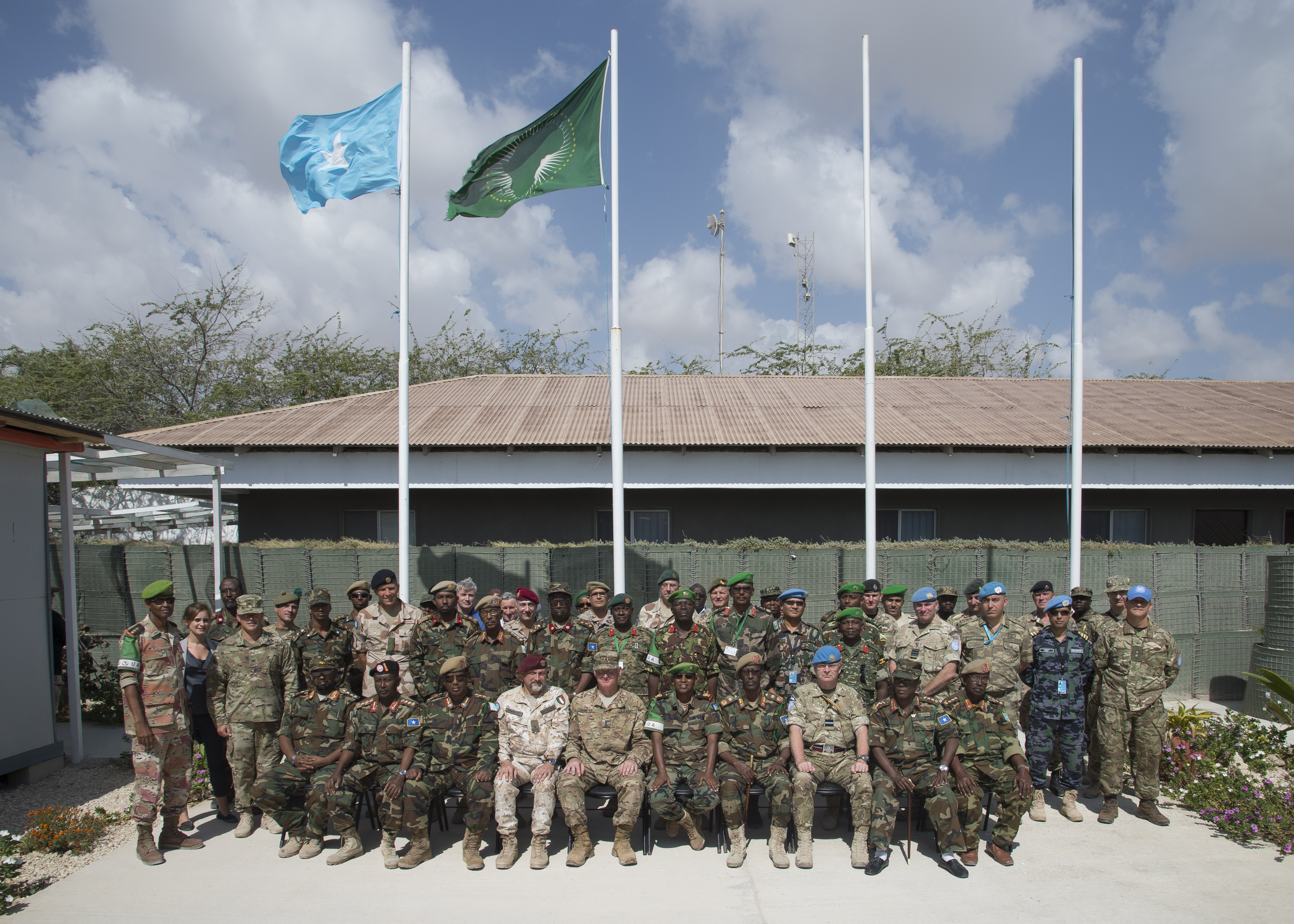 Leaders of the Somali National Army gather with international military and civilian officials for the SNA Symposium in downtown Mogadishu, Jan. 11, 2017. More than 60 participants attended the two-day event, including representatives from Denmark, Germany, Italy, Somalia, Turkey, Uganda, the United Arab Emirates, United Kingdom and the United States of America. Also in attendance, were representatives from international organizations such as the United Nations, European Union Training Mission, and the African Union Mission in Somalia.
