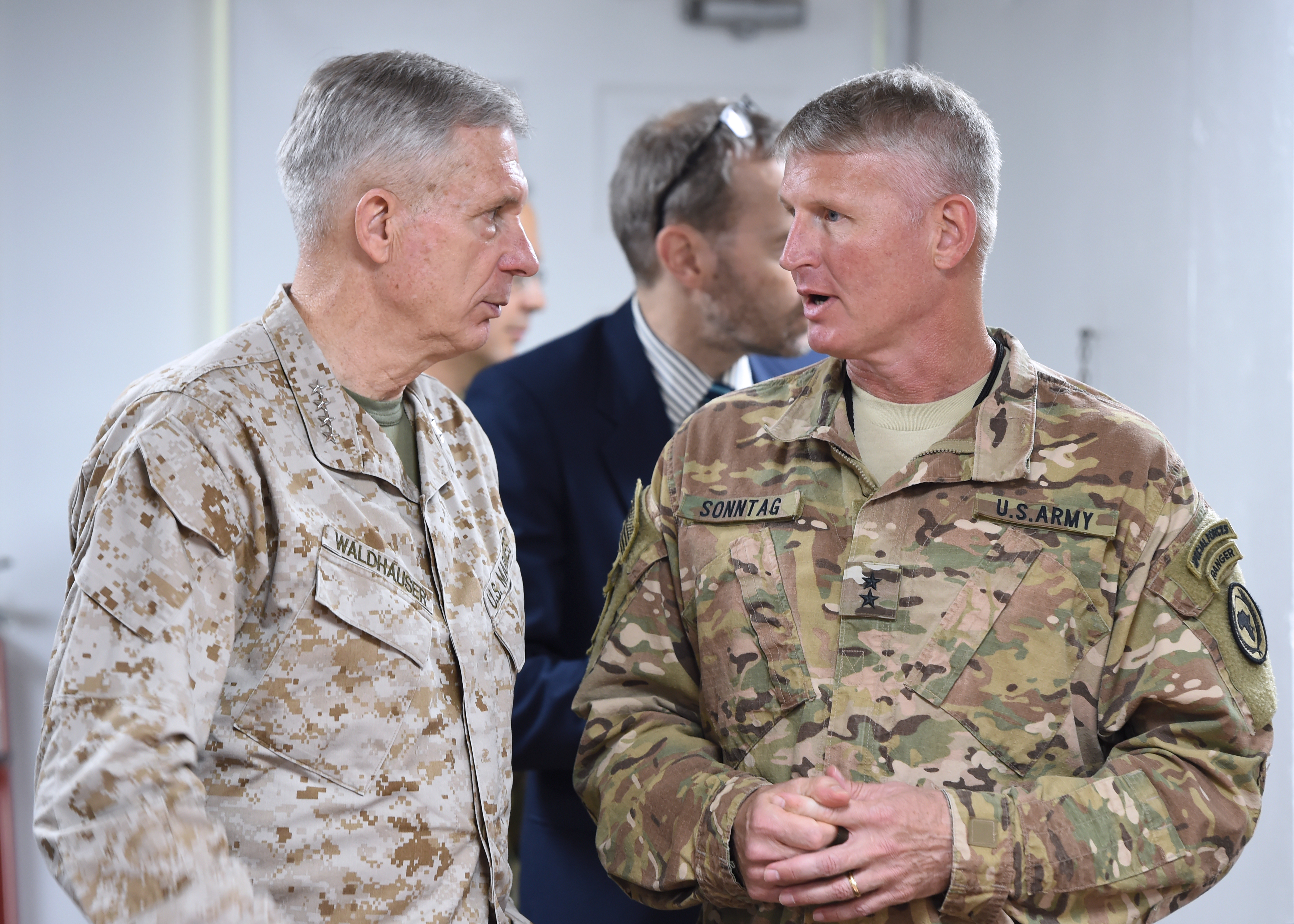 Gen. Thomas Waldhauser, commander of U.S. Africa Command and Combined Joint Task Force-Horn of Africa Commanding General Maj. Gen. Kurt Sonntag converse during the 2017 East Africa Security Synchronization Conference at Camp Lemonnier, Djibouti, Jan. 24. The two-day event allowed U.S. Embassy representatives from eight East African nations to engage with AFRICOM leadership, and provided the opportunity for an open dialogue to discuss the security environments of each country. (U.S. Air National Guard photo by Master Sgt. Paul Gorman)