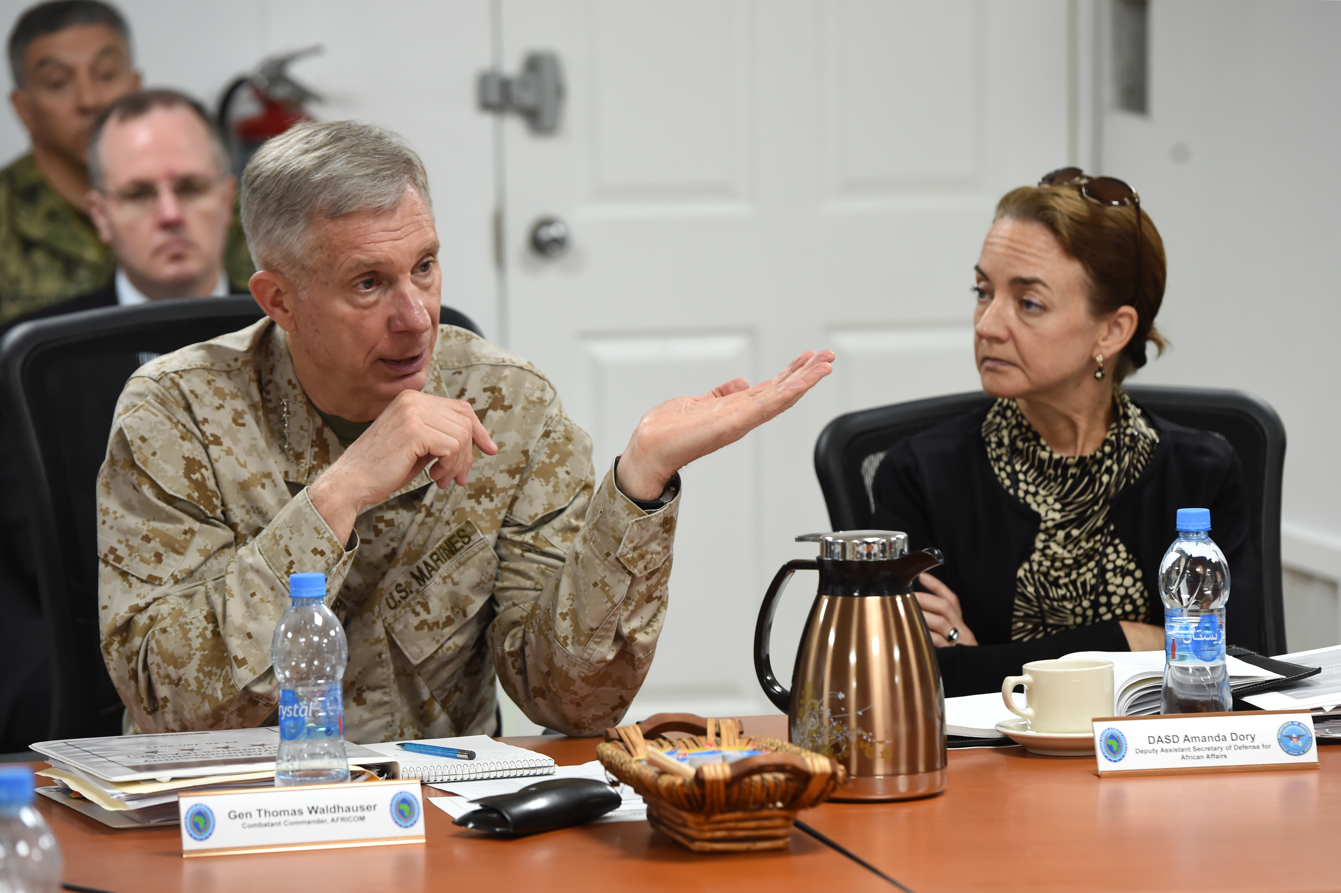 Gen. Thomas Waldhauser, commander of U.S. Africa Command, addresses attendees of the 2017 East Africa Security Synchronization Conference at Camp Lemonnier, Djibouti, Jan. 24. The two-day event allowed U.S. Embassy representatives from eight East African nations to engage with AFRICOM leadership, and provided the opportunity for an open dialogue to discuss the security environments of each country. (U.S. Air National Guard photo by Master Sgt. Paul Gorman)