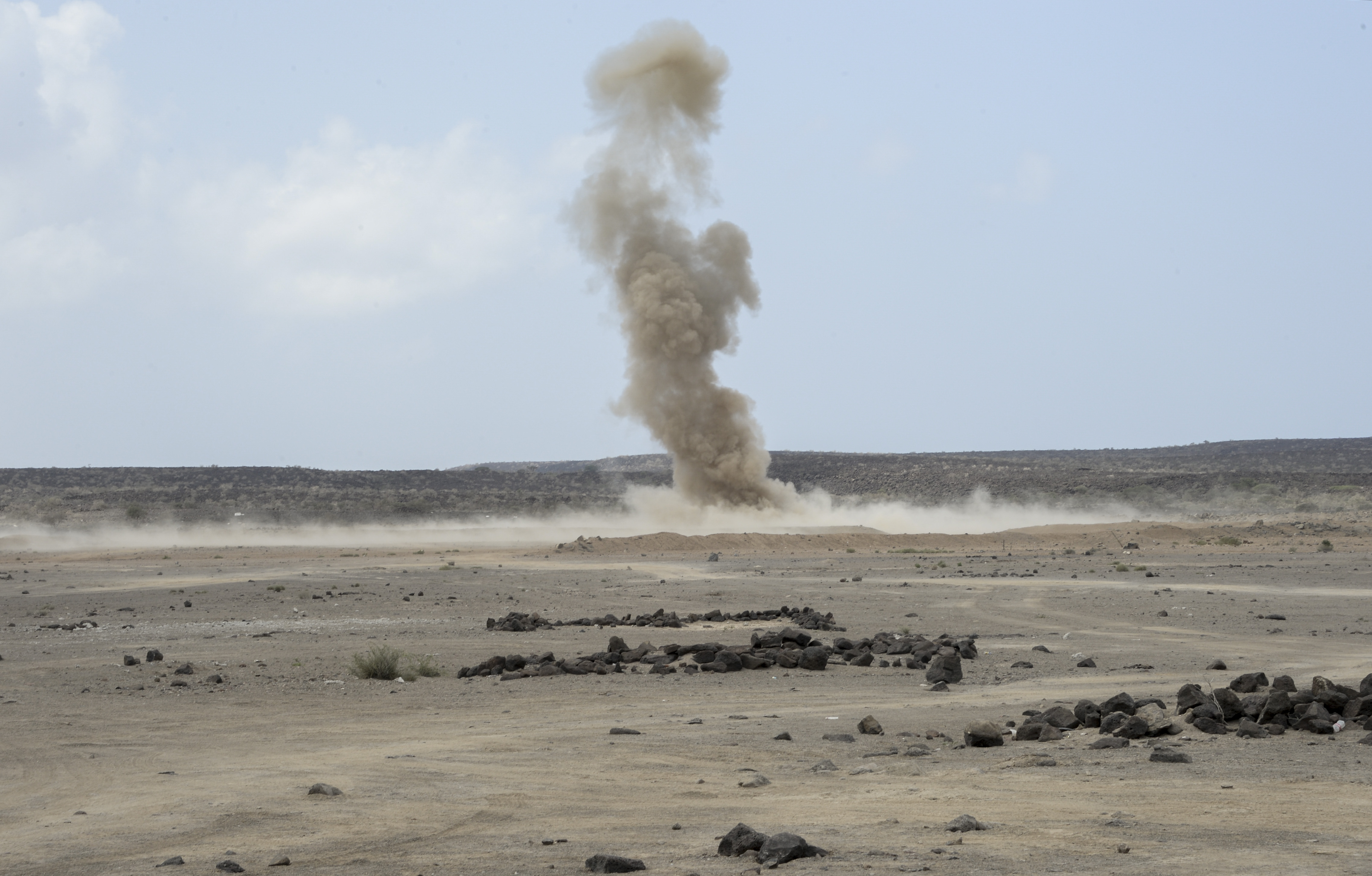 U.S. Navy Sailors of Combined Joint Task Force Horn of Africa (CJTF-HOA) Explosive Ordinance Disposal (EOD) members, performs a controlled detonation with an explosive devices during a training exercise at Arta Plage, Djibouti, Jan. 30, 2017. A controlled detonation is a method used to safely disable suspected explosive devices. (U.S. Air National Guard photo by Staff Sgt. Christian Jadot)
