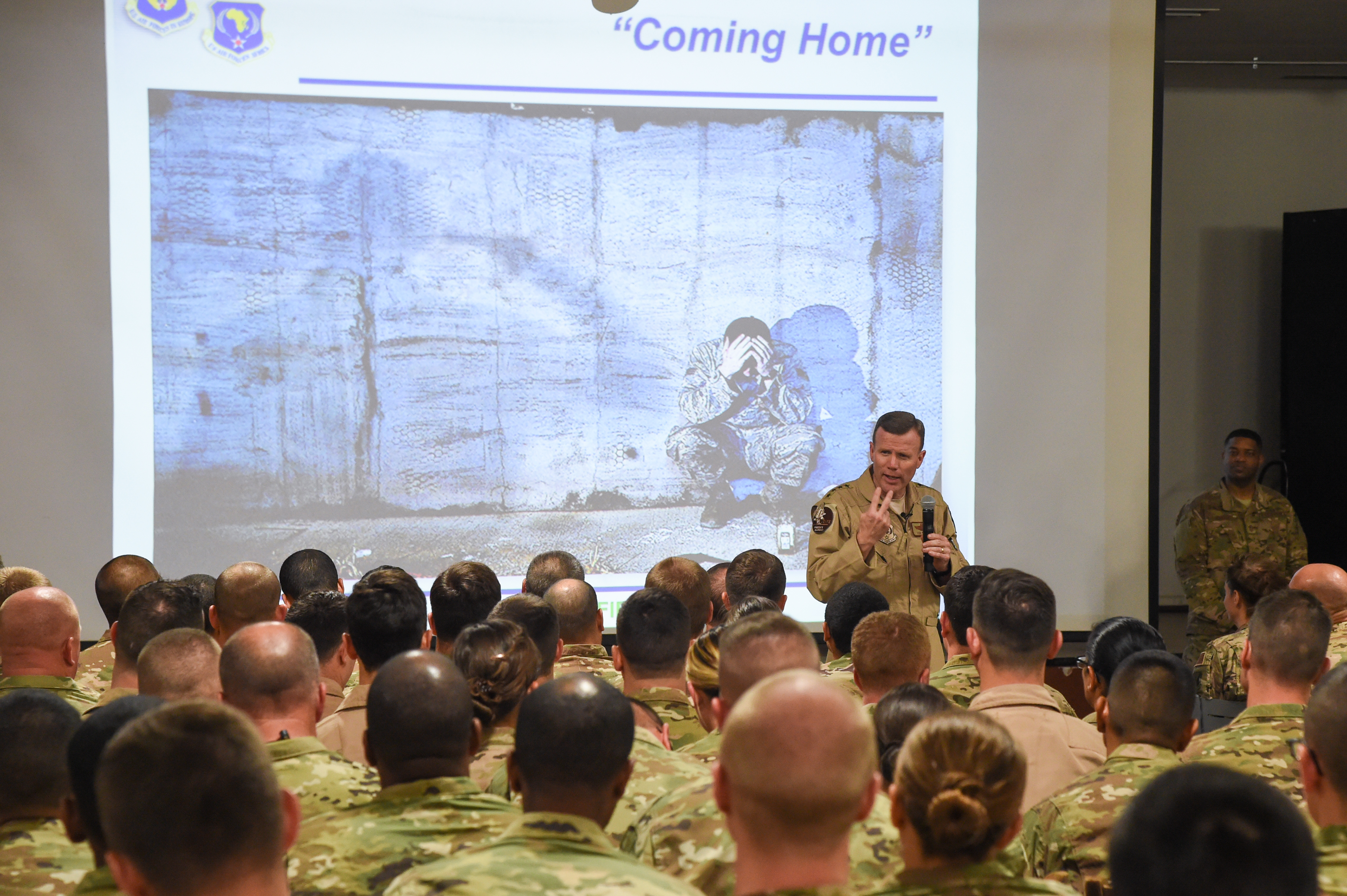 U.S. Air Force Gen. Tod Wolters, commander of U.S. Air Forces in Europe and Air Forces Africa (USAFE-AFAFRICA), speaks with forward deployed Airmen assigned to the installation, and Combined Joint Task Force-Horn of Africa during his visit to Camp Lemonnier, Djibouti, Feb. 1, 2017. Wolters discussed the three command priorities: trust, teamwork, and training. Camp Lemonnier is one of USAFE-AFAFRICA's 114 geographically separated locations. (U.S. Air National Guard photo by Staff Sgt. Penny Snoozy)