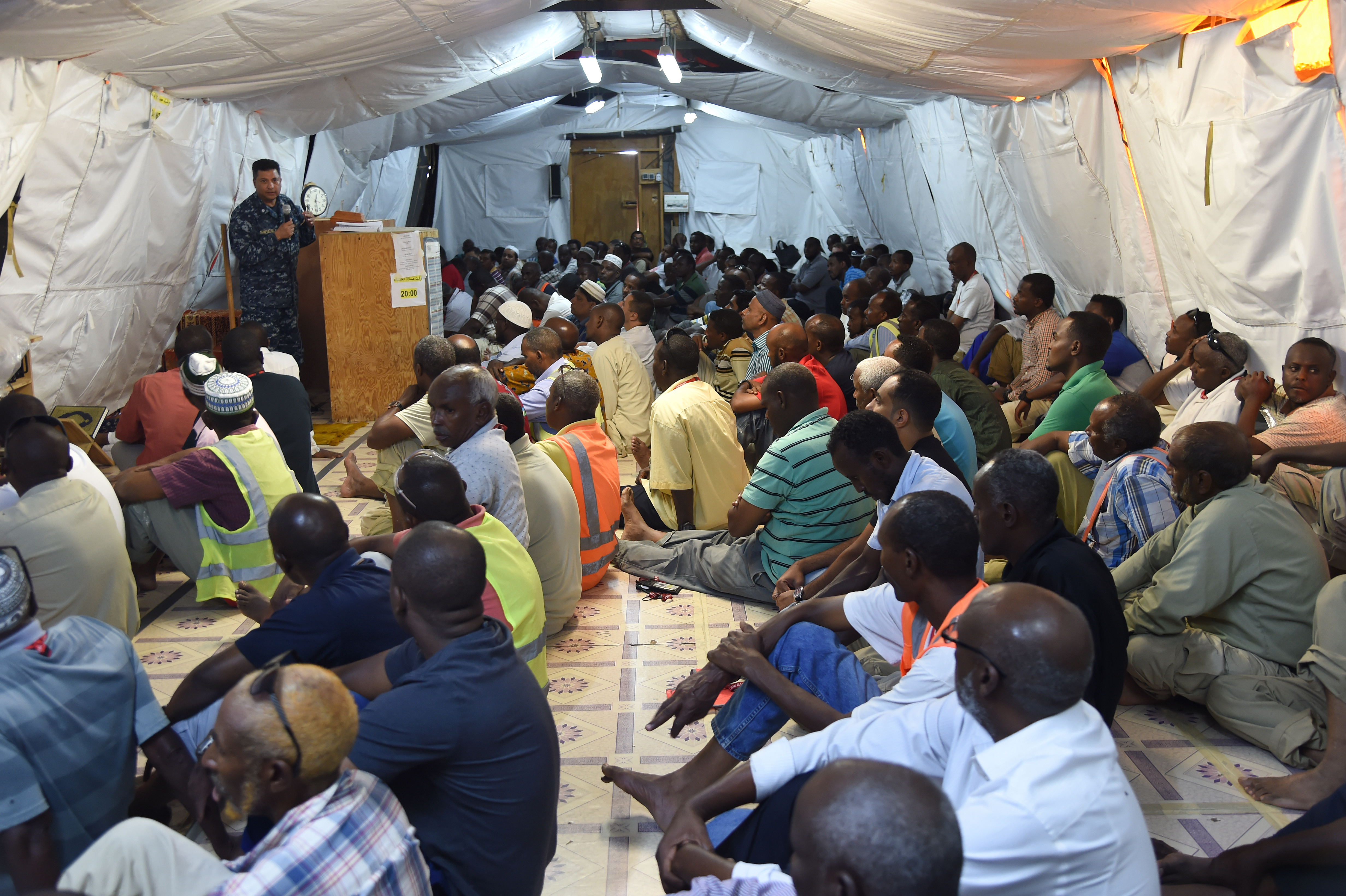 U.S. Navy Cmdr. Abuhena Saifulislam, deputy command chaplain for U.S. Africa Command, speaks to Muslim civilian employees during the Friday sermon at Mariama Bin't Imran Mosque in Camp Lemonnier, Djibouti, Jan. 30, 2017. A native of Bangladesh, Saifulislam became a naturalized U.S. citizen in 1995, was commissioned in 1999 as the first Muslim chaplain for the U.S. Marine Corp, and is currently one of only two Imam Chaplains in the U.S. Navy. (U.S. Air National Guard photo by Master Sgt. Paul Gorman)