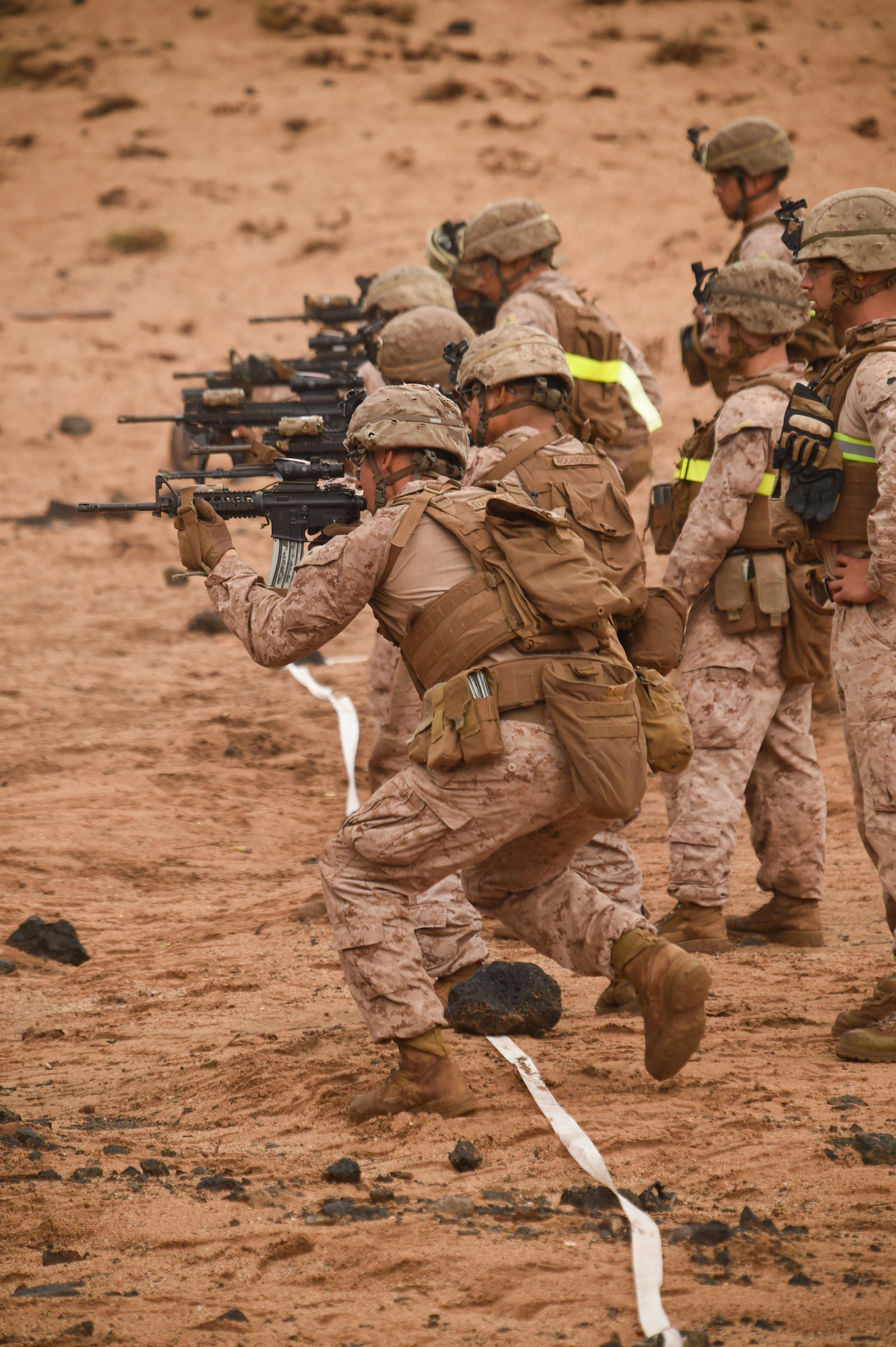 U.S. Marines with Alpha Company, 1st Battalion, 11th Marine Expeditionary Unit (MEU), move downrange during a Combat Marksmanship Program shoot, Feb. 14, 2017, at Arta Beach in Djibouti. The Marines worked on engaging a target while moving and under physical stress. A MEU is a quick response force, which consists of Sailors and Marines on standby for immediate crisis response across the globe. (U.S. Air National Guard photo by Staff Sgt. Penny Snoozy)