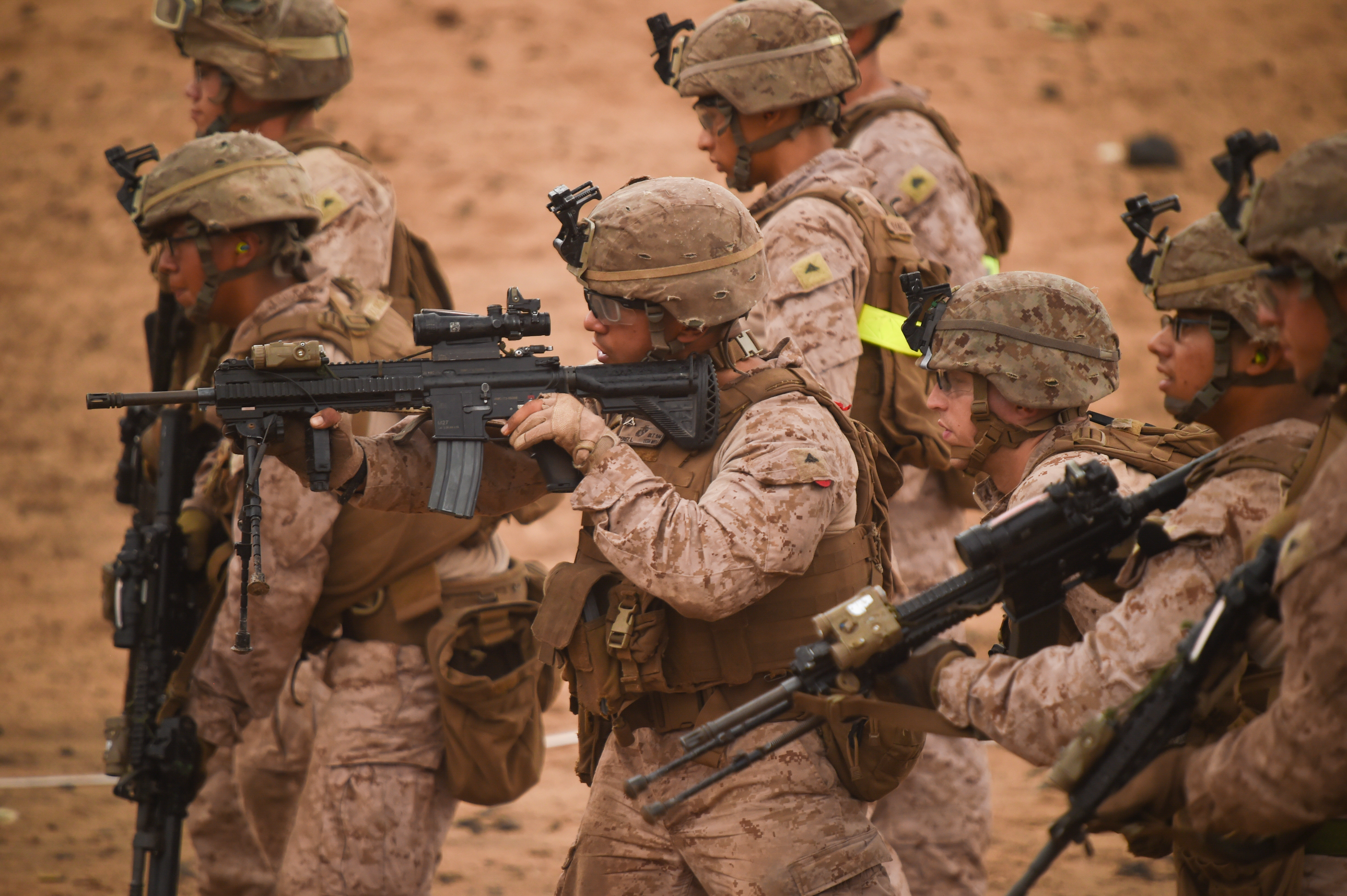U.S. Marines with Alpha Company, 1st Battalion, 11th Marine Expeditionary Unit (MEU), focus downrange during a Combat Marksmanship Program shoot, Feb. 14, 2017, at Arta Beach in Djibouti. Marines worked on engaging a target while moving and under physical stress. The time on the range allows the 11th MEU to maintain their respective skills and proficiencies. (U.S. Air National Guard photo by Staff Sgt. Penny Snoozy)
