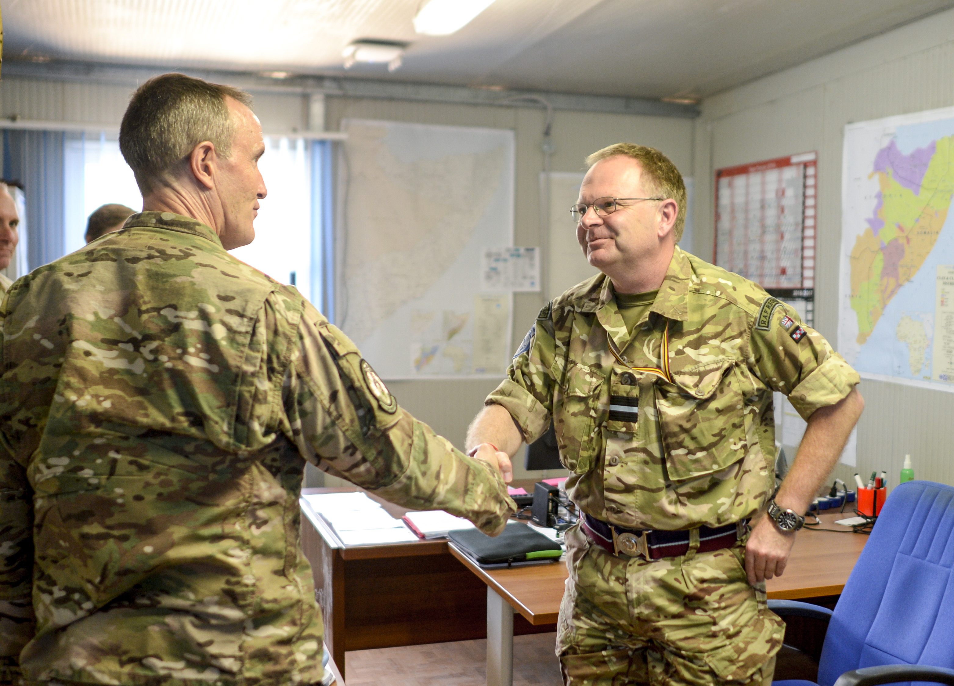 "U.S. Air Force Brig. Gen. Phil Purcell, Combined Joint Task Force-Horn of Africa deputy commander, meets with British Air Commodore William ""Jamie"" Kendall, United Nations Somalia senior military advisor, in Mogadishu, Somalia Mar. 15, 2017. The meeting helped relay important information about the dynamics of the region back to the U.S. government to further stabilize Somalia. (U.S. Air National Guard photo by Christian M. Jadot)"