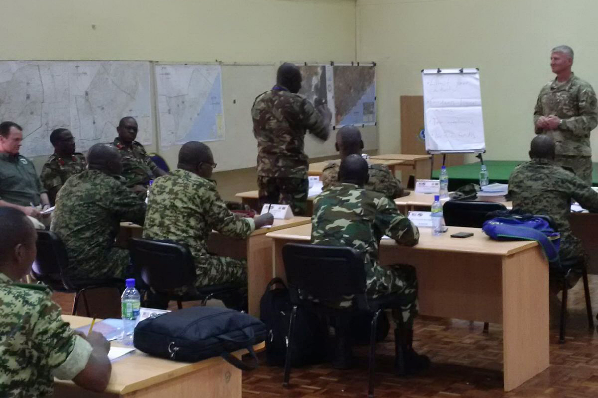 U.S Army Maj. Gen. Kurt L. Sonntag, Commanding General, Combined Joint Task Force - Horn of Africa, addresses staff officers from Kenya, Uganda and Burundi at the Africa Contingency Operations Training and Assistance force headquarters training program held at the Humanitarian Peace Support School in Nairobi, Kenya, March 2, 2017.  The five-week course was facilitated by the U.S. Department of State and is designed to improve Africa's military capabilities by providing selected training necessary for multinational peace support operations. (U.S. Navy photo by CAPT Milton Singleton)
