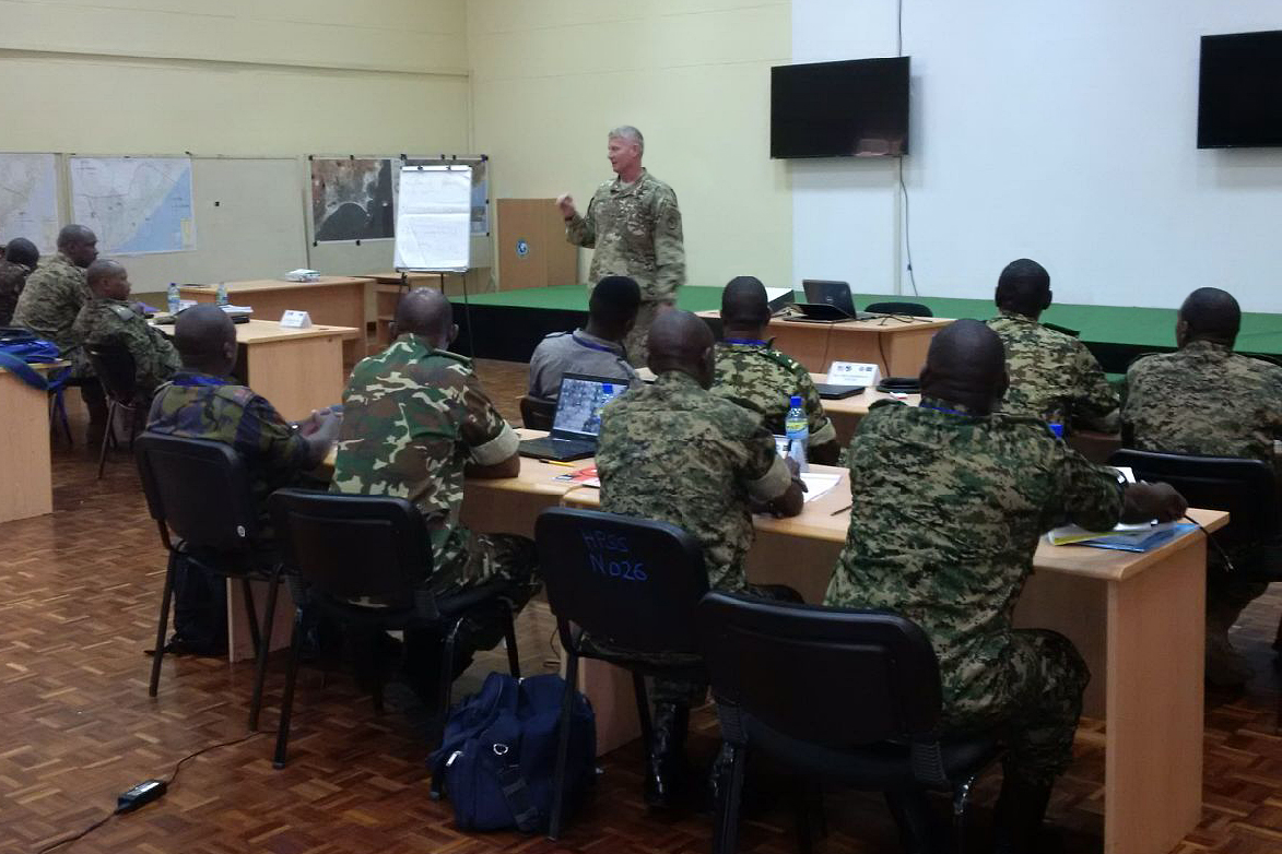 U.S Army Maj. Gen. Kurt L. Sonntag, Commanding General, Combined Joint Task Force - Horn of Africa, fields questions from Kenya, Uganda and Burundi staff officers at the Africa Contingency Operations Training and Assistance force headquarters training program held at the Humanitarian Peace Support School in Nairobi, Kenya, March 2, 2017.  The five-week course was facilitated by the U.S. Department of State and is designed to improve Africa's military capabilities by providing selected training necessary for multinational peace support operations. (U.S. Navy photo by CAPT Milton Singleton)