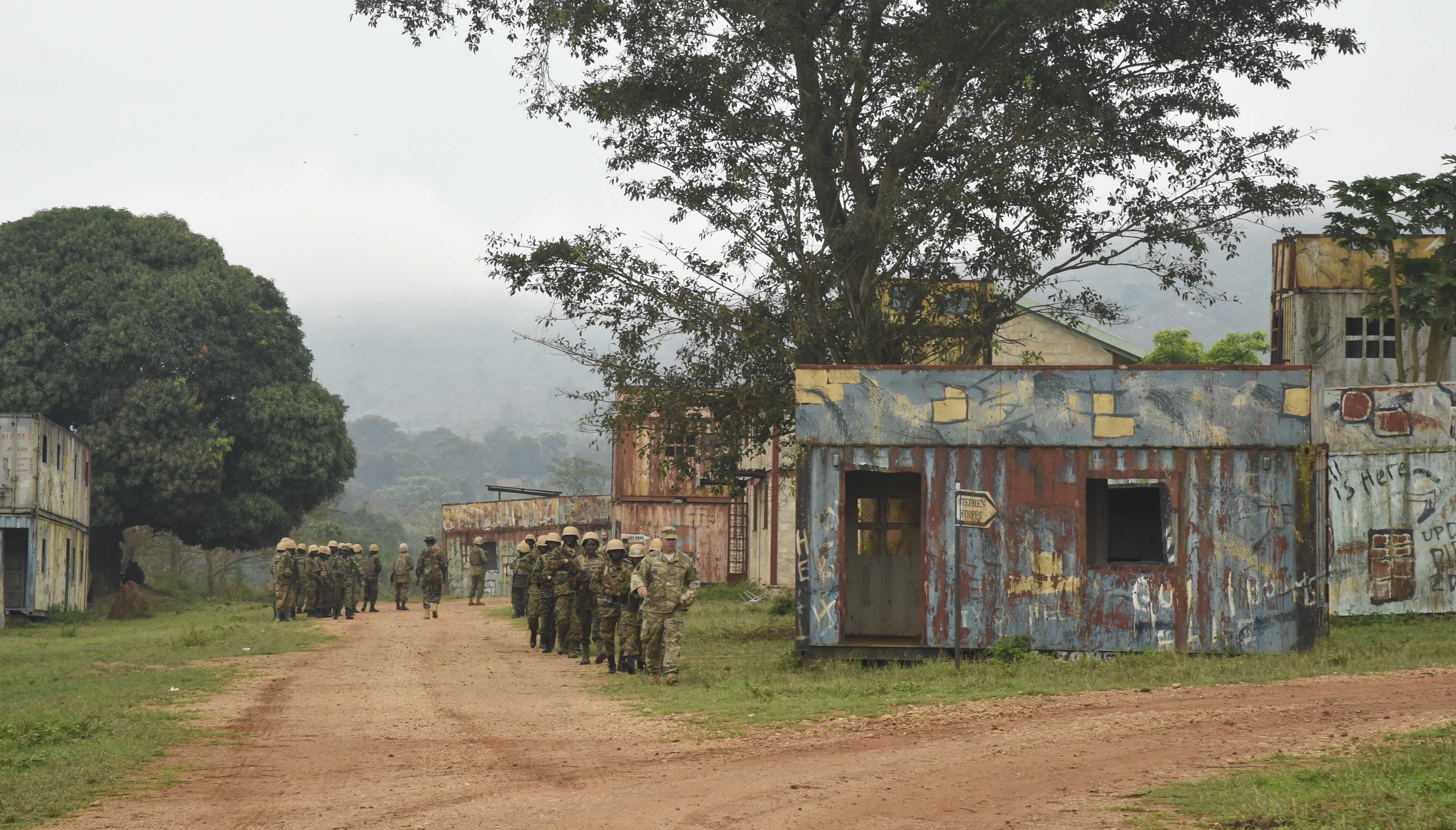 Uganda People's Defense Force (UPDF) soldiers travel between training stations at Camp Singo, Feb. 28, 2017. The training the UPDF receives from allied forces increases their readiness and helps to better prepare forces to respond to issues in their region. (U.S. Air National Guard photo by Staff Sgt. Penny Snoozy)