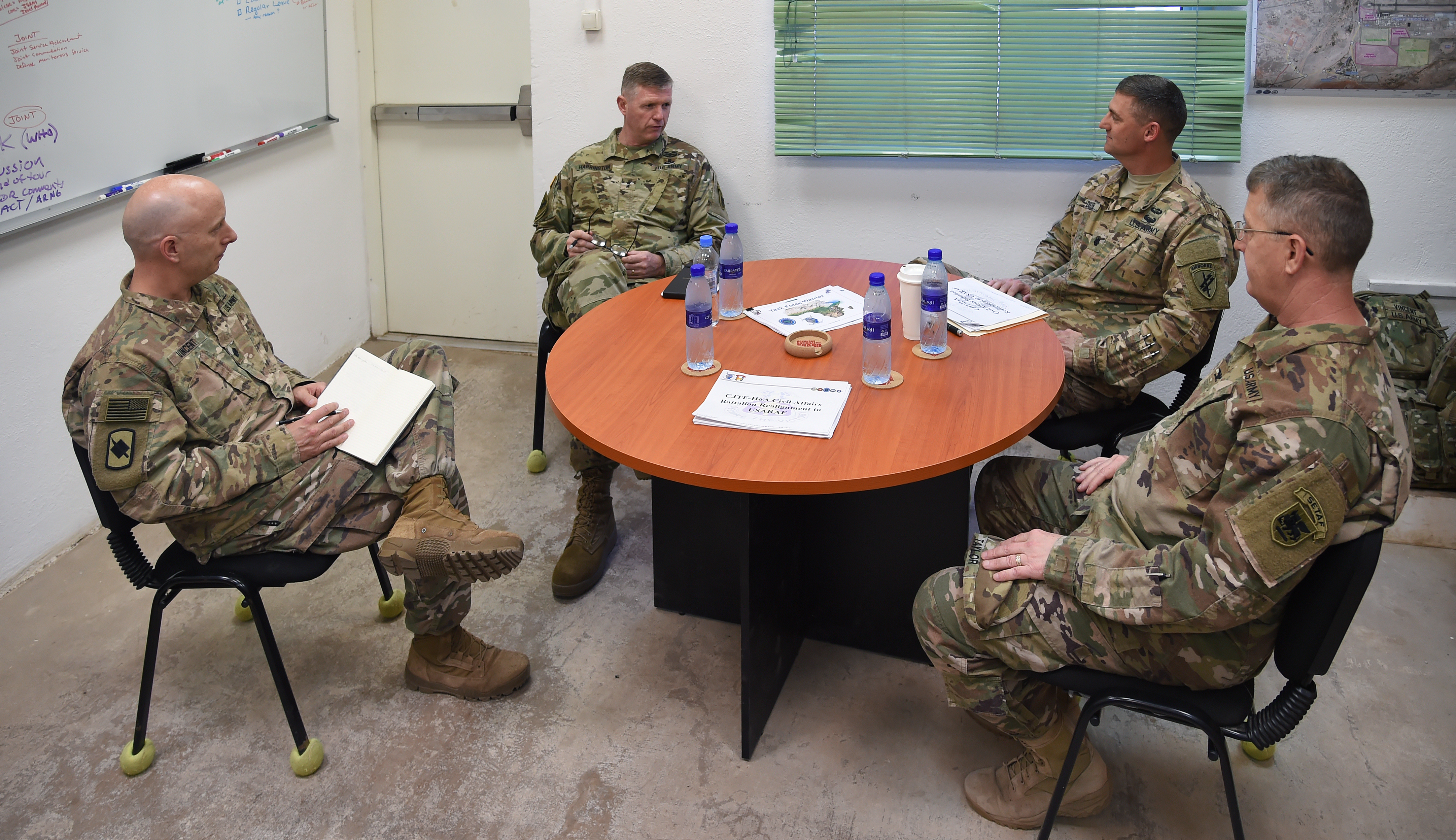 U.S. Army Maj. Gen. Joseph Harrington, commanding general of U.S. Army Africa engages leaders with the 1st Battalion, 153rd Infantry Regiment and 418th Civil Affairs Battalion at Camp Lemonnier, Djibouti, March 22, 2017. Harrington's visit included the opportunity to meet with Camp Lemonnier and Combined Joint Task Force-Horn of Africa leadership, as well as recognize numerous deployed Soldiers identified as superior performers while serving in the Horn of Africa. (U.S. Air National Guard photo by Master Sgt. Paul Gorman)