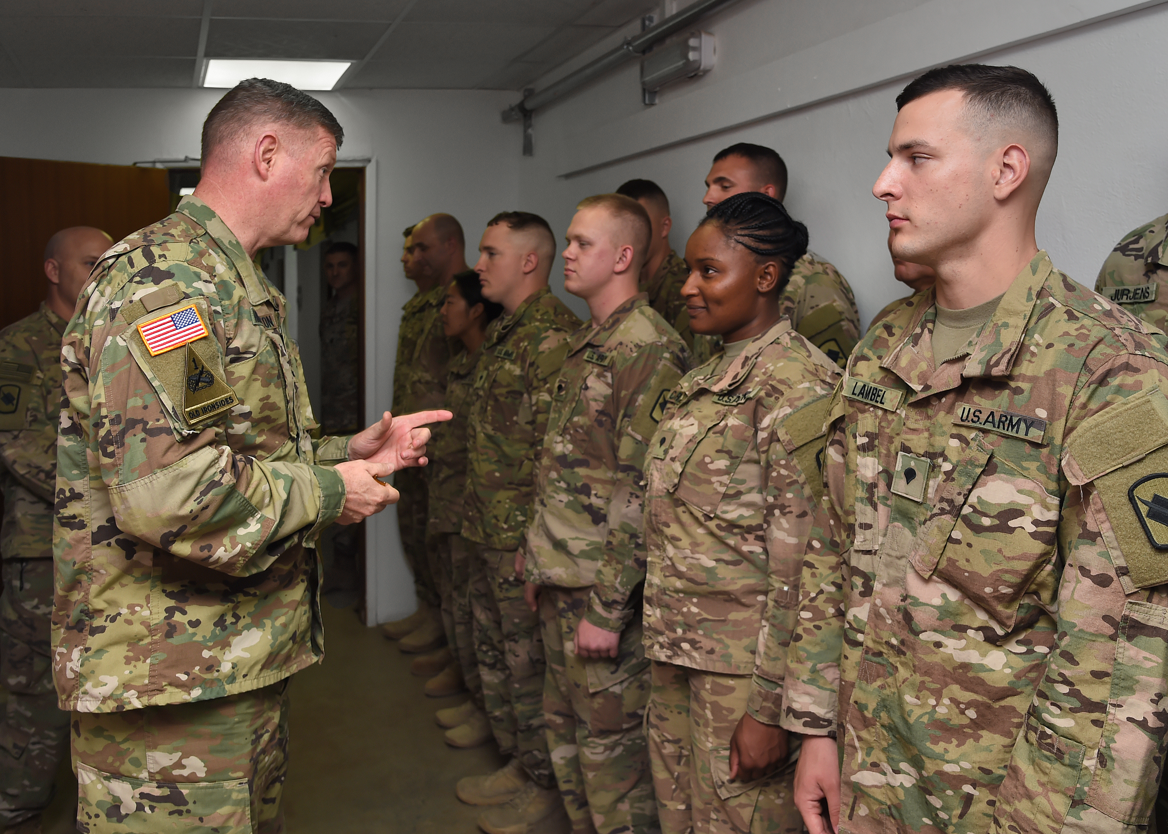 U.S. Army Maj. Gen. Joseph Harrington, commanding general of U.S. Army Africa (USARAF) visits with infantry and civil affairs Soldiers assigned to Combined Joint Task Force-Horn of Africa at Camp Lemonnier, Djibouti, March 22, 2017. USARAF provides mission command and employs forces to set the theater, conduct security force assistance, and provide support to joint and international partners in order to achieve U.S. Africa Command theater campaign plan objectives. (U.S. Air National Guard photo by Master Sgt. Paul Gorman)