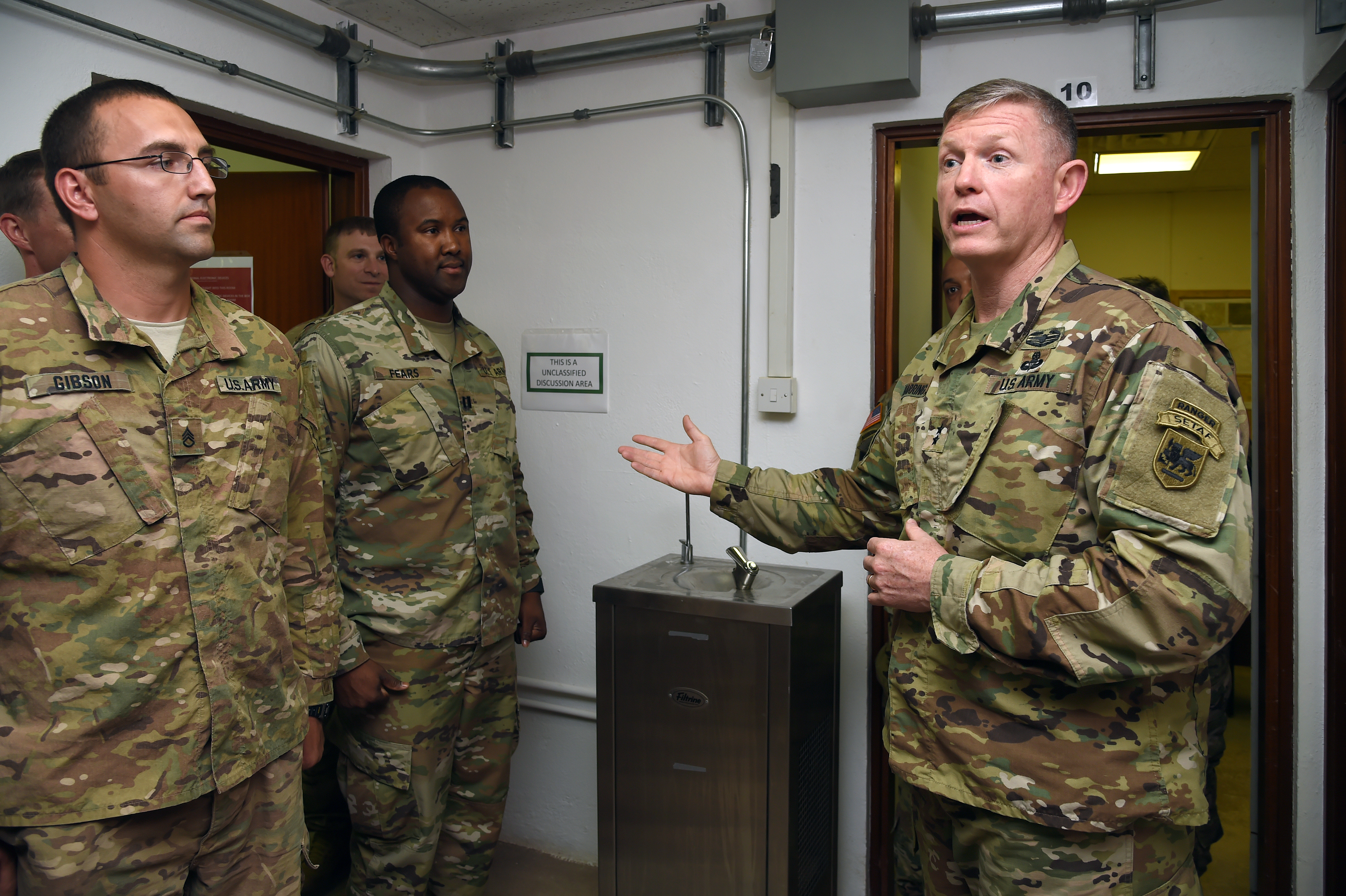 U.S. Army Maj. Gen. Joseph Harrington, commanding general of U.S. Army Africa (USARAF) addresses infantry and civil affairs Soldiers assigned to Combined Joint Task Force-Horn of Africa at Camp Lemonnier, Djibouti, March 22, 2017. USARAF provides mission command and employs forces to set the theater, conduct security force assistance, and provide support to joint and international partners in order to achieve U.S. Africa Command theater campaign plan objectives. (U.S. Air National Guard photo by Master Sgt. Paul Gorman)
