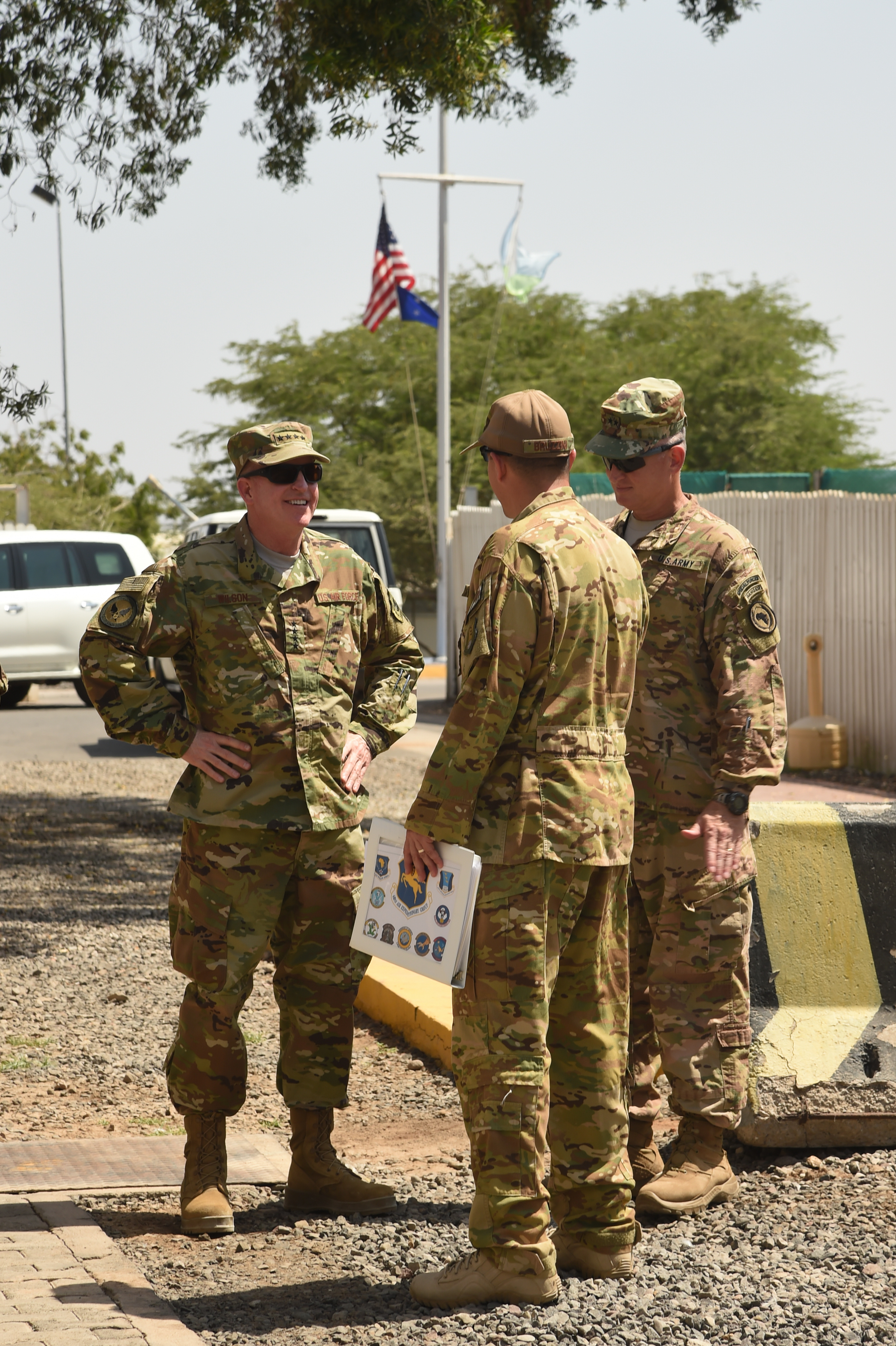 U.S. Air Force Vice Chief of Staff Gen. Stephen Wilson, left, speaks with Maj. Gen. Kurt Sonntag, commanding general of Combined Joint Task Force-Horn of Africa (CJTF-HOA), right, during a visit to Camp Lemonnier, Djibouti, April 11, 2017. Wilson visited CJTF-HOA and other tenant commands with Chief Master Sgt. of the Air Force Kaleth Wright to gain a better understanding of Air Force integration and missions in the U.S. Africa Command area of responsibility. (U.S. Air National Guard photo by Staff Sgt. Penny Snoozy)