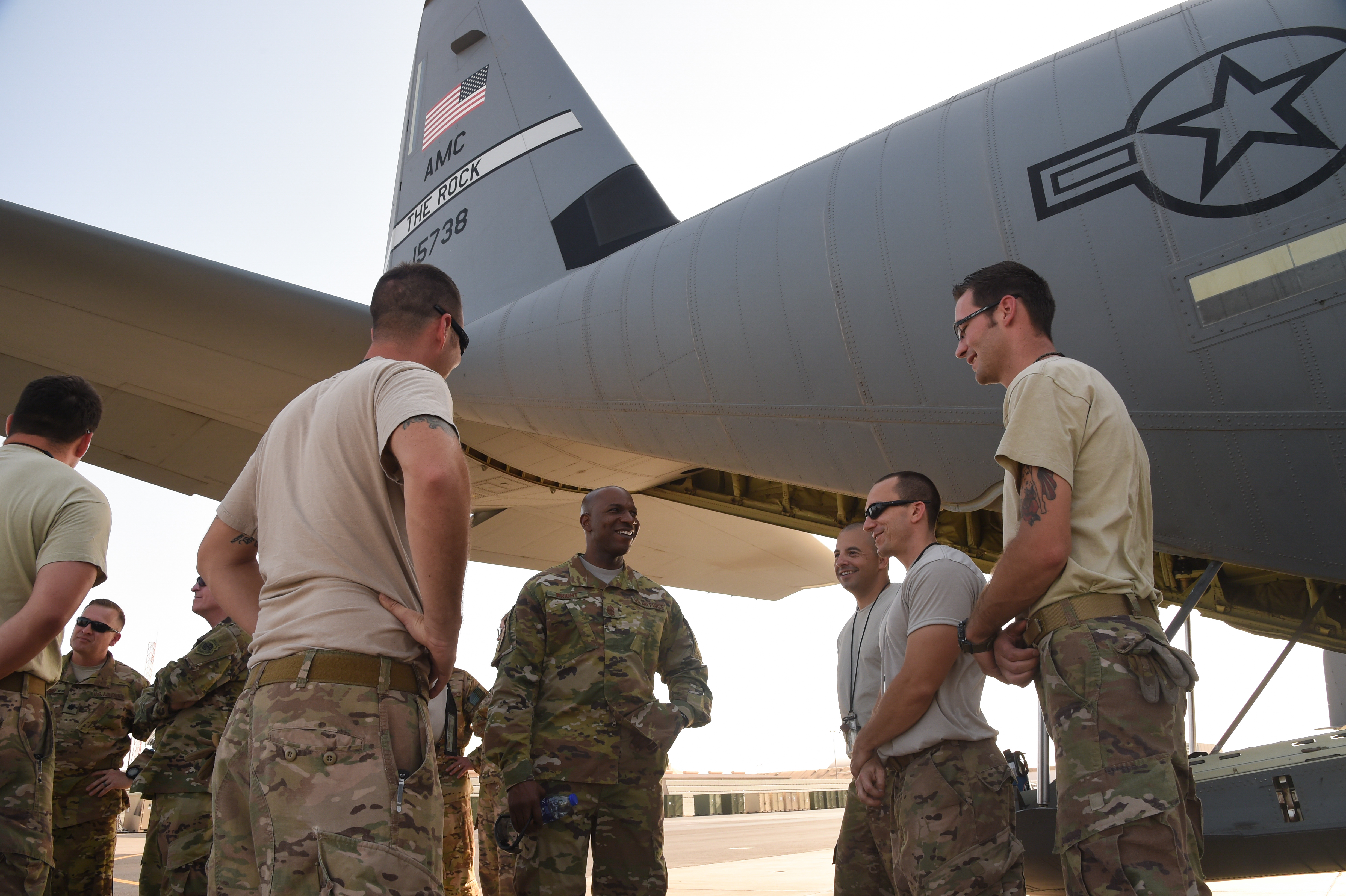 U.S. Air Force Chief Master Sgt. of the Air Force Kaleth Wright speaks with airmen from the 75th Expeditionary Airlift Squadron during a visit to Camp Lemonnier, Djibouti, April 11, 2017. Wilson and Wright visited CJTF-HOA and other tenant commands with Wright to gain a better understanding of Air Force integration and missions in the U.S. Africa Command area of responsibility. (U.S. Air National Guard photo by Staff Sgt. Penny Snoozy)