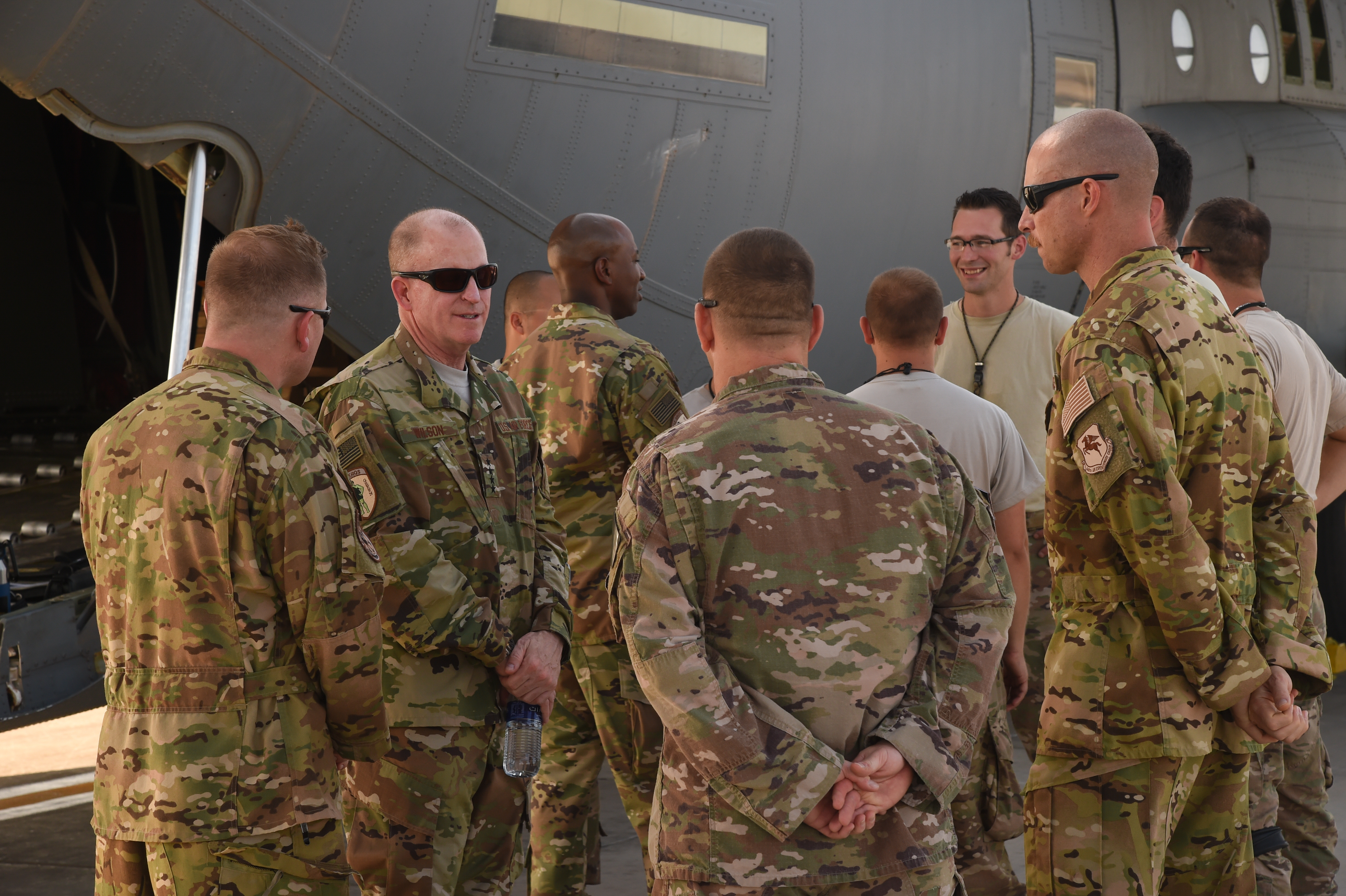 U.S. Air Force Vice Chief of Staff Gen. Stephen Wilson and Chief Master Sgt. of the Air Force Kaleth Wright speak with airmen from the 75th Expeditionary Airlift Squadron during a visit to Camp Lemonnier, Djibouti, April 11, 2017. Wilson and Wright visited CJTF-HOA and other tenant commands with Wright to gain a better understanding of Air Force integration and missions in the U.S. Africa Command area of responsibility. (U.S. Air National Guard photo by Staff Sgt. Penny Snoozy)