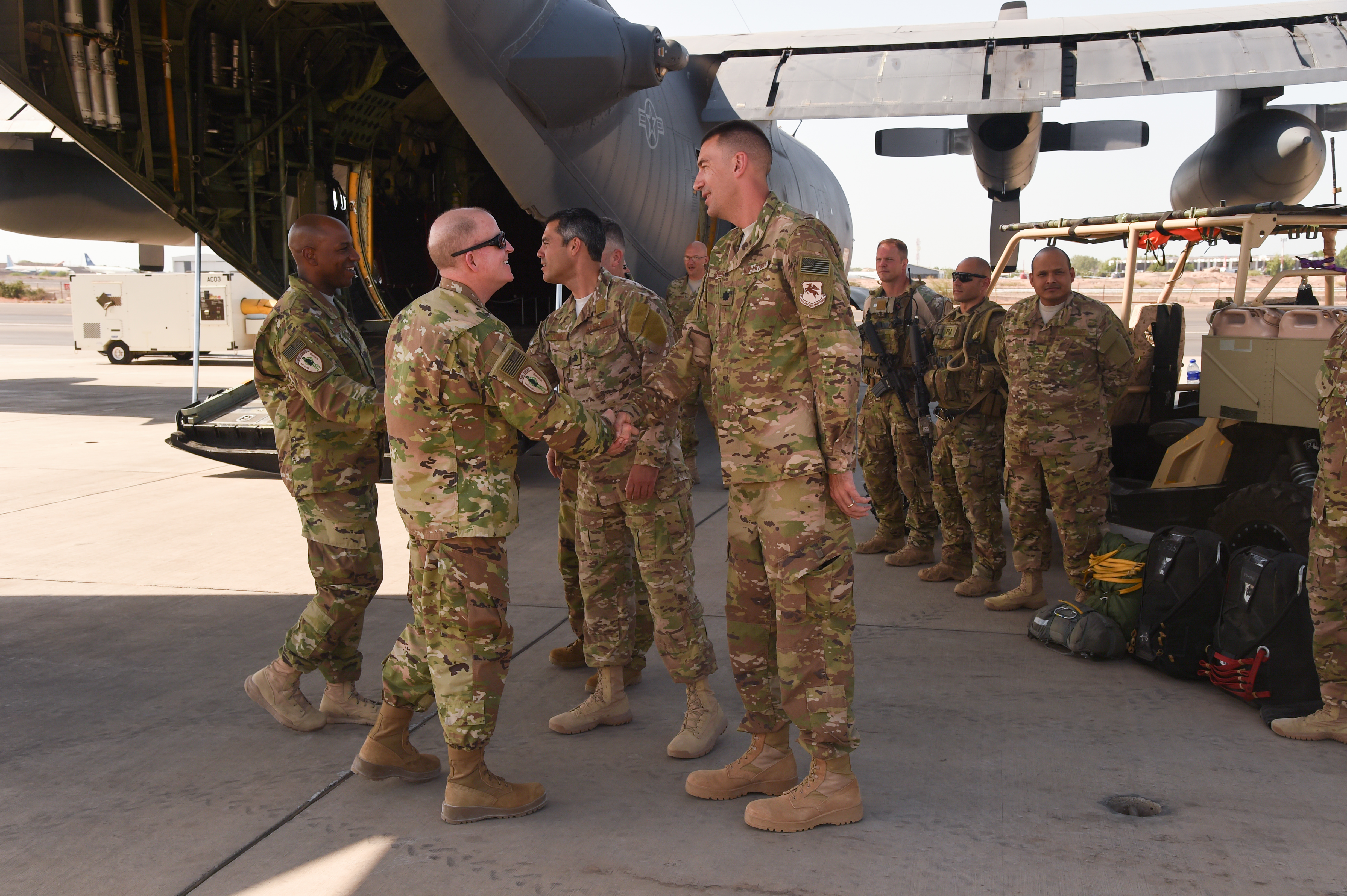 U.S. Air Force Vice Chief of Staff Gen. Stephen Wilson, greets Lt. Col. Timothy Bruner, commander 726th Expeditionary Air Base Squadron, right, during a visit to Camp Lemonnier, Djibouti, April 11, 2017. Wilson visited CJTF-HOA and other tenant commands with Wright to gain a better understanding of Air Force integration and missions in the U.S. Africa Command area of responsibility. (U.S. Air National Guard photo by Staff Sgt. Penny Snoozy)