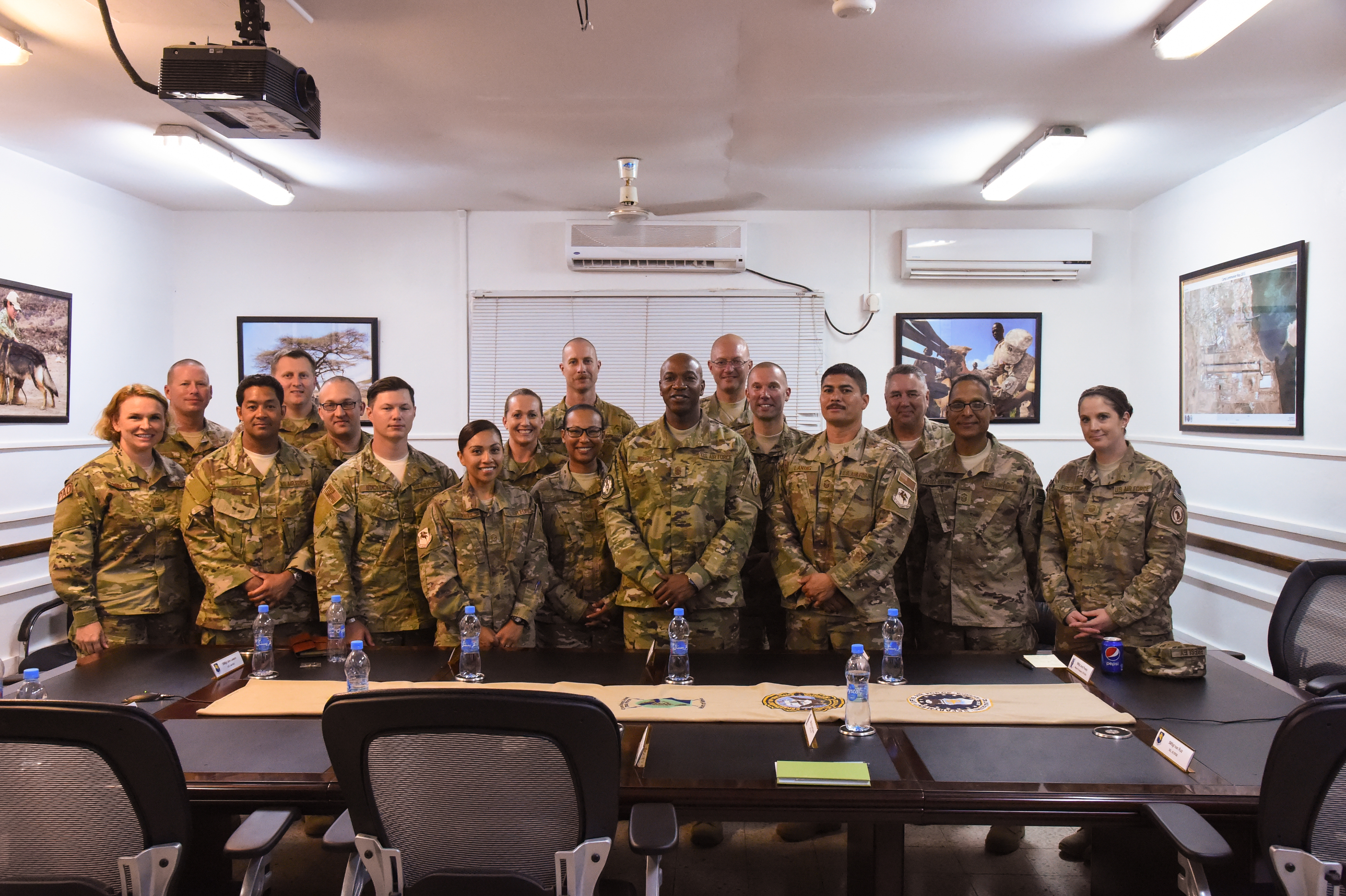 U.S. Air Force Chief Master Sgt. of the Air Force Kaleth Wright poses for a group photo with Air Force senior enlisted leaders of Combined Joint Task Force-Horn of Africa (CJTF-HOA); closing out his visit to Camp Lemonnier, Djibouti, April 11, 2017. The U.S. Air Force Vice Chief of Staff Gen. Stephen Wilson visited CJTF-HOA and other tenant commands with Wright to gain a better understanding of Air Force integration and missions in the U.S. Africa Command area of responsibility. (U.S. Air National Guard photo by Staff Sgt. Penny Snoozy)