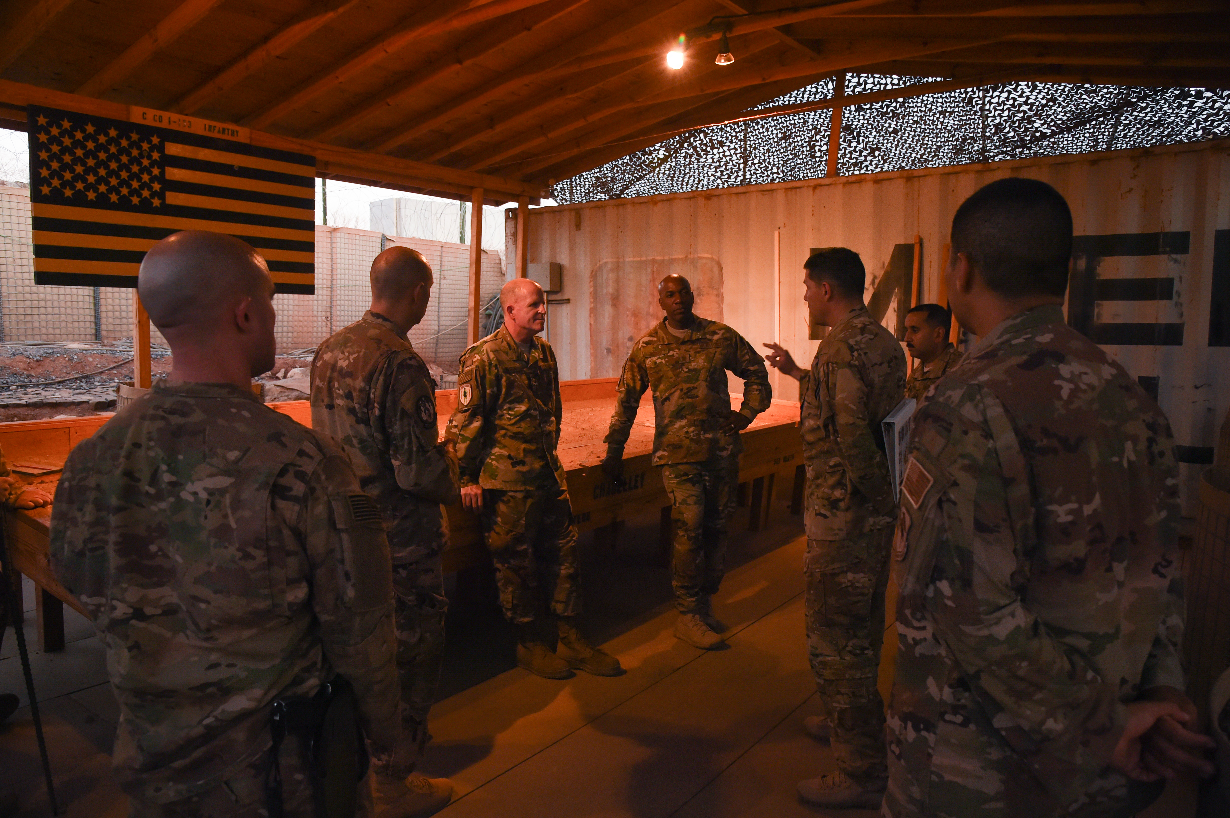 U.S. Air Force Vice Chief of Staff Gen. Stephen Wilson and Chief Master Sgt. of the Air Force Kaleth Wright receive information from service members who work on an airfield near Camp Lemonnier, Djibouti, April 11, 2017. Wilson visited CJTF-HOA and other tenant commands with Wright to gain a better understanding of Air Force integration and missions in the U.S. Africa Command area of responsibility. (U.S. Air National Guard photo by Staff Sgt. Penny Snoozy)