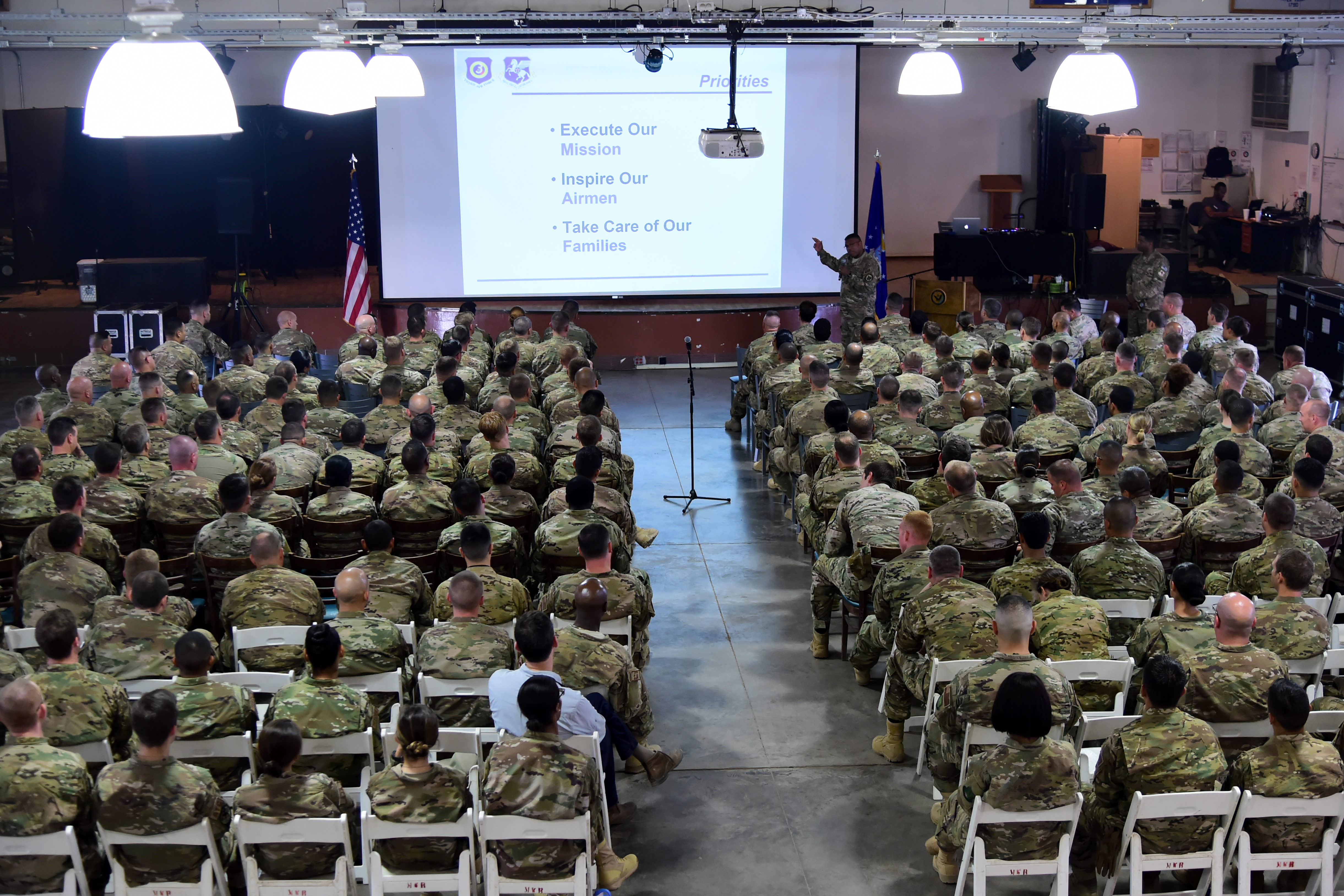 Lt. Gen. Richard Clark, commander of the 3rd Air Force and 17th Expeditionary Air Force, addresses active, reserve and National Guard Airmen while visiting Camp Lemonnier, Djibouti April 12, 2017. The visit allowed Clark and accompanying leadership to gain a better understanding of the Air Force mission in East Africa, and express their appreciation to the many U.S. Airmen deployed throughout the Horn of Africa. (U.S. Air National Guard photo by Master Sgt. Paul Gorman)