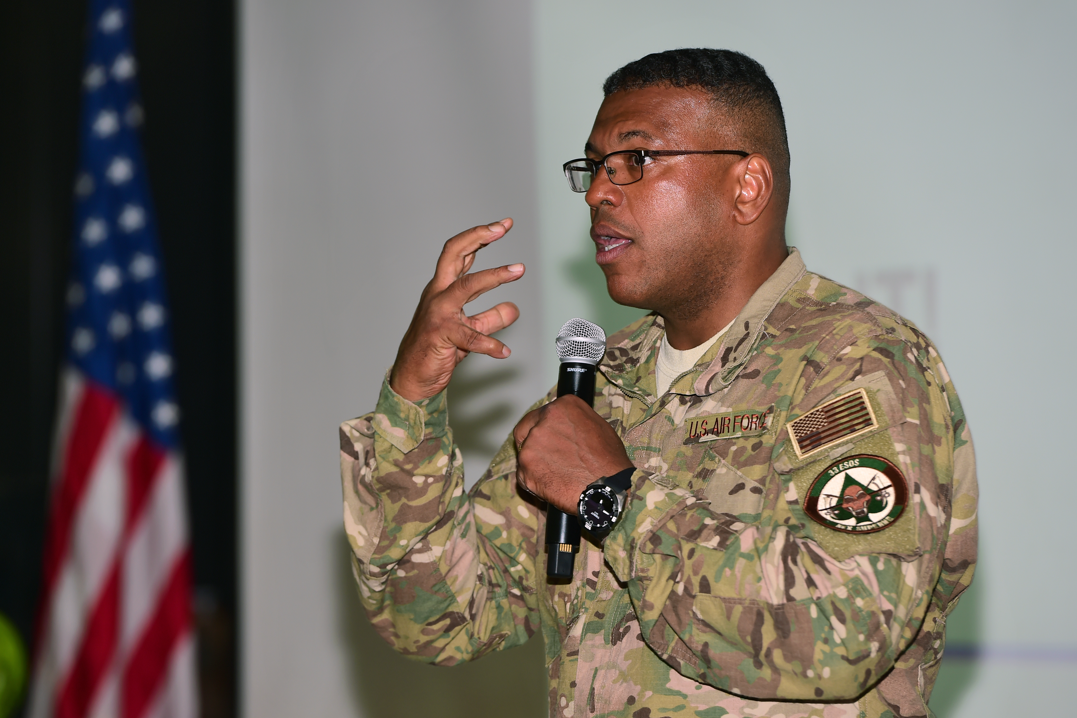 Lt. Gen. Richard Clark, commander of the 3rd Air Force and 17th Expeditionary Air Force, addresses active, reserve and National Guard Airmen while visiting Camp Lemonnier, Djibouti April 12, 2017. As 3rd Air Force commander, Clark oversees the planning, deployment, sustainment and redeployment of air forces that directly support U.S. combatant commanders during contingency and wartime operations. (U.S. Air National Guard photo by Master Sgt. Paul Gorman)