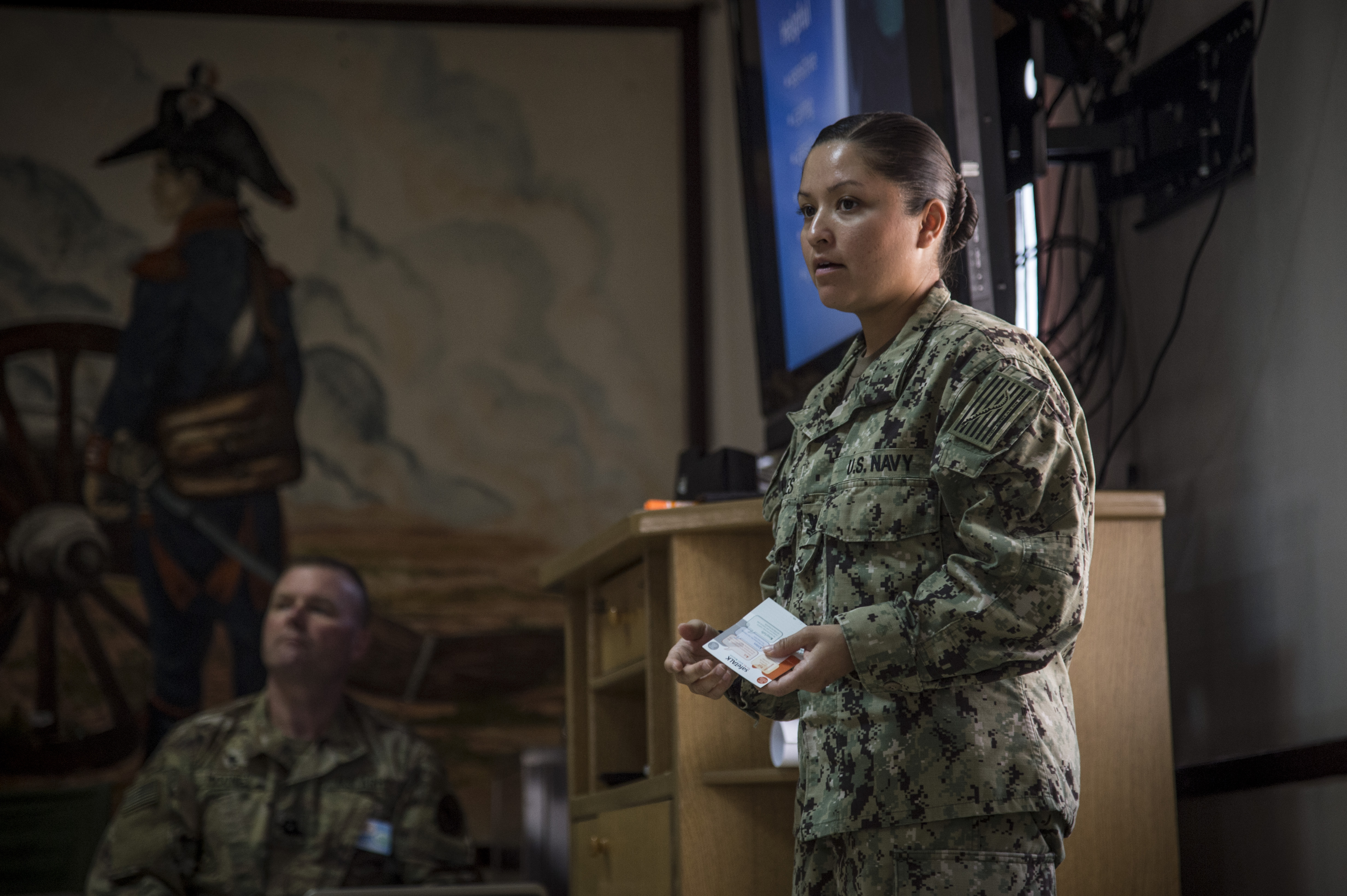 "U.S. Navy Petty Officer 2nd Class Jocelynn Morales, religious support specialist for the Combined Joint Task Force-Horn of Africa (CJTF-HOA) Religious Affairs Office, trains deployed members attending a ""SafeTALK"" course, May 18, 2017, at Camp Lemonnier, Djibouti. The course stresses the importance of suicide alertness and resiliency to take care of one another. (U.S. Air National Guard photo by Tech. Sgt. Joe Harwood)"