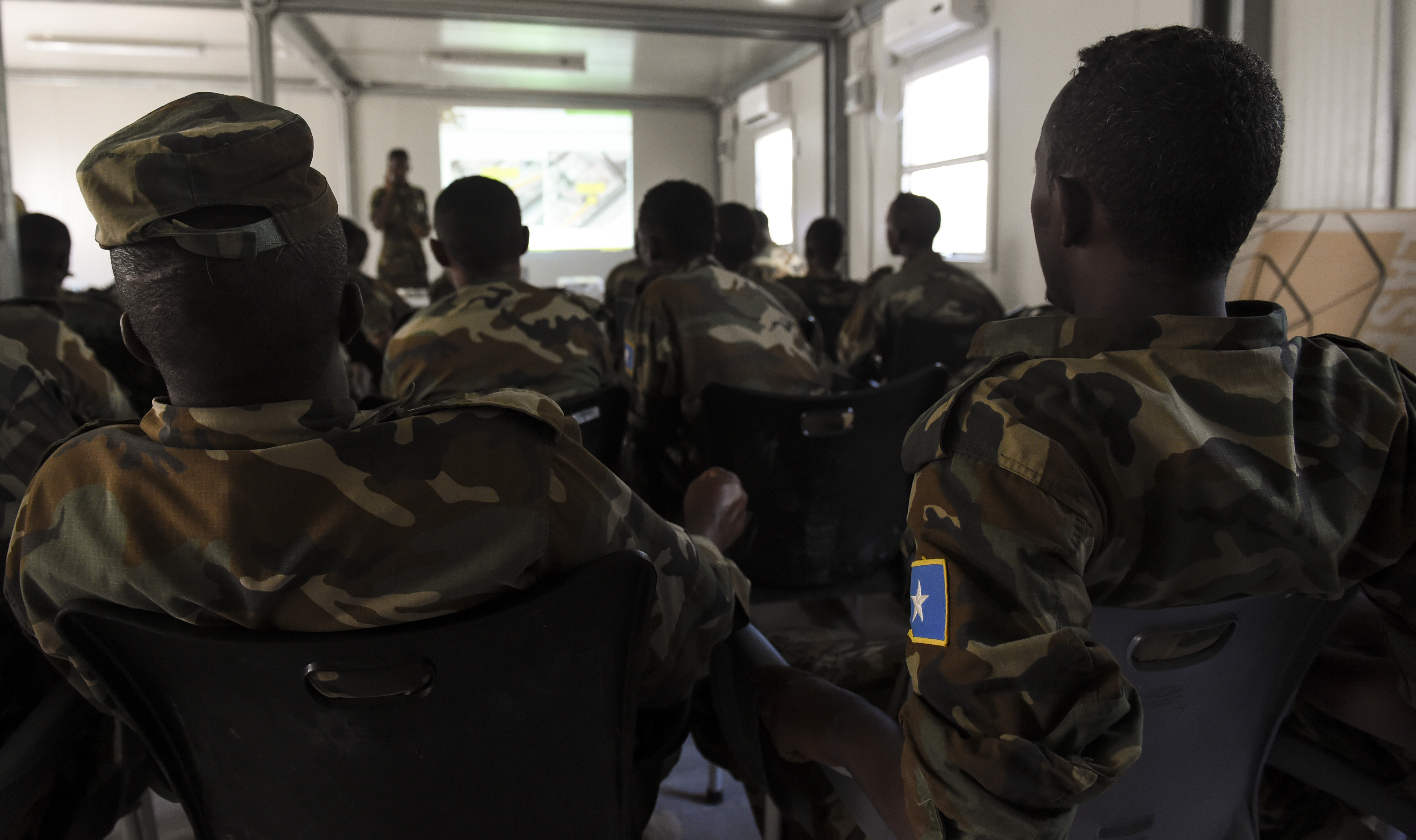 U.S. Army 101st Airborne Division soldiers deployed with U.S. Army Forces Africa, train Somali National Army soldiers May 22, 2017, in Mogadishu, Somalia. The logistics course focused on various aspects of moving personnel, equipment and supplies. (U.S. Air Force photo by Staff Sgt. Nicholas M. Byers)