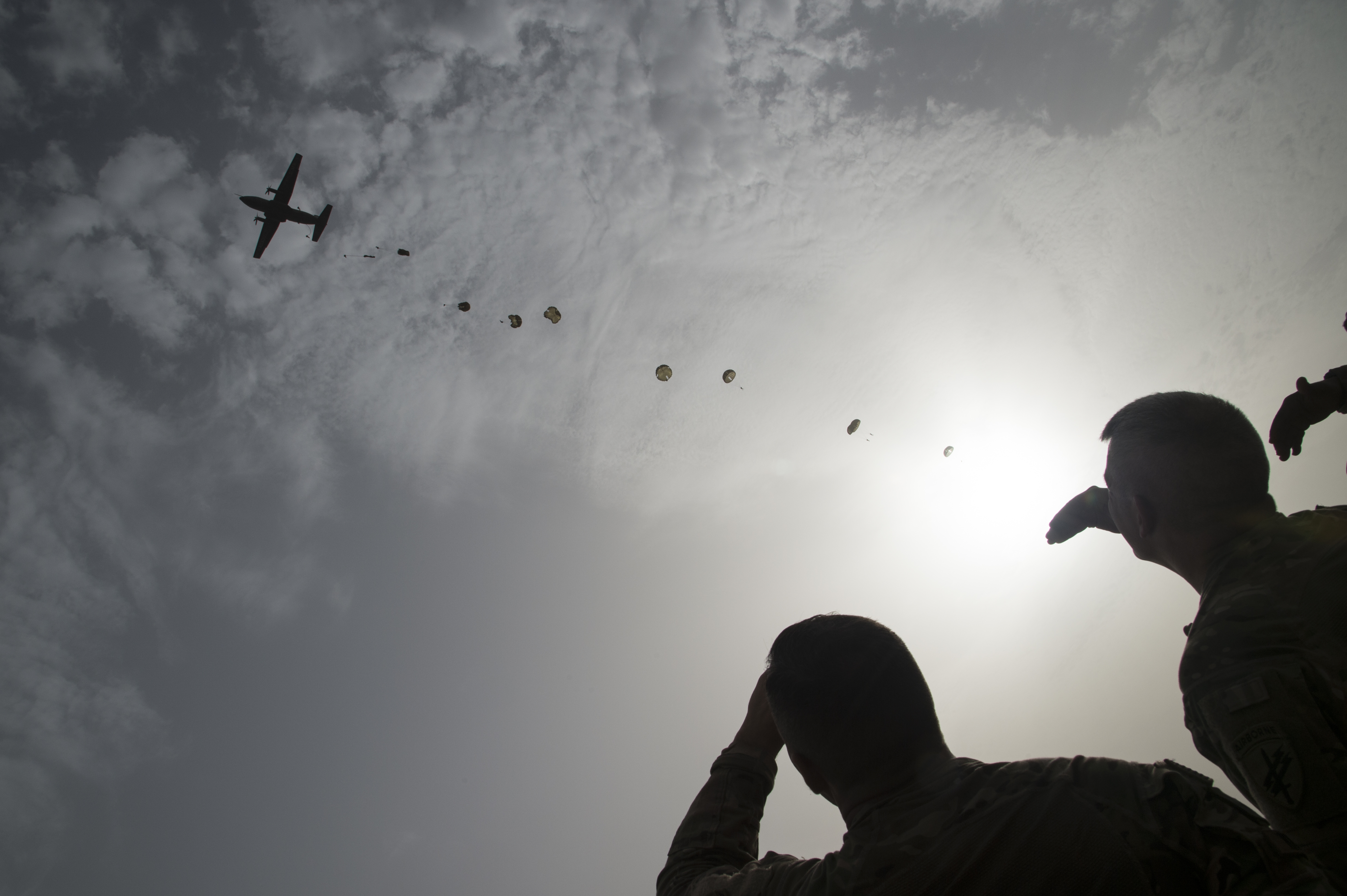 "U.S., French and Italian service members participate in static-line and free fall jumps on June 6, 2017, commemorating World War II's Allied invasion of Normandy, termed ""D-Day"", near Camp Lemonnier, Djibouti. The bilateral jump is in honor of the 73rd anniversary of D-Day, and also celebrates the continued partnership of allied forces. French Forces Djibouti provided a Transall C-160 tactical transport aircraft using French parachutes and French jumpmasters, and all who jumped earned French jump wings. (U.S. Air National Guard photo by Tech. Sgt. Joe Harwood)"