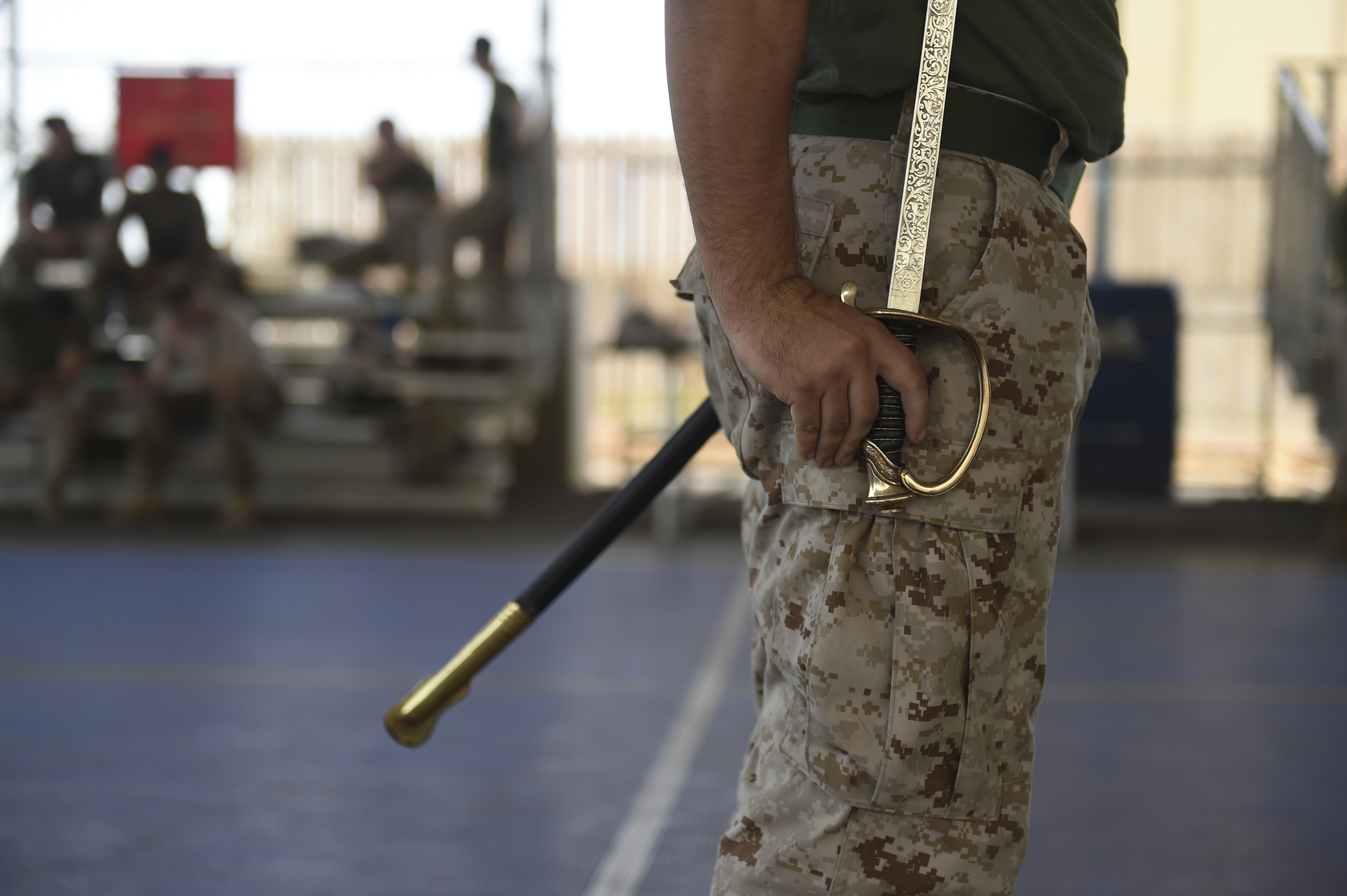 U.S. Marine Corps Cpl. Brandon Ogle, assigned to Combined Joint Task Force-Horn of Africa, prepares to complete a sword and guidon evaluation during the Corporal's Course at Camp Lemonnier, Djibouti, May 24, 2017. As a dual effort of the Marine Corps Element and CJTF-HOA, the Corporals' Leadership Development Course is a professional military education program traditionally for Marine Corps Corporals that places emphasis on basic leadership skills. (U.S. Air Force photo by Staff Sgt. Eboni Prince)