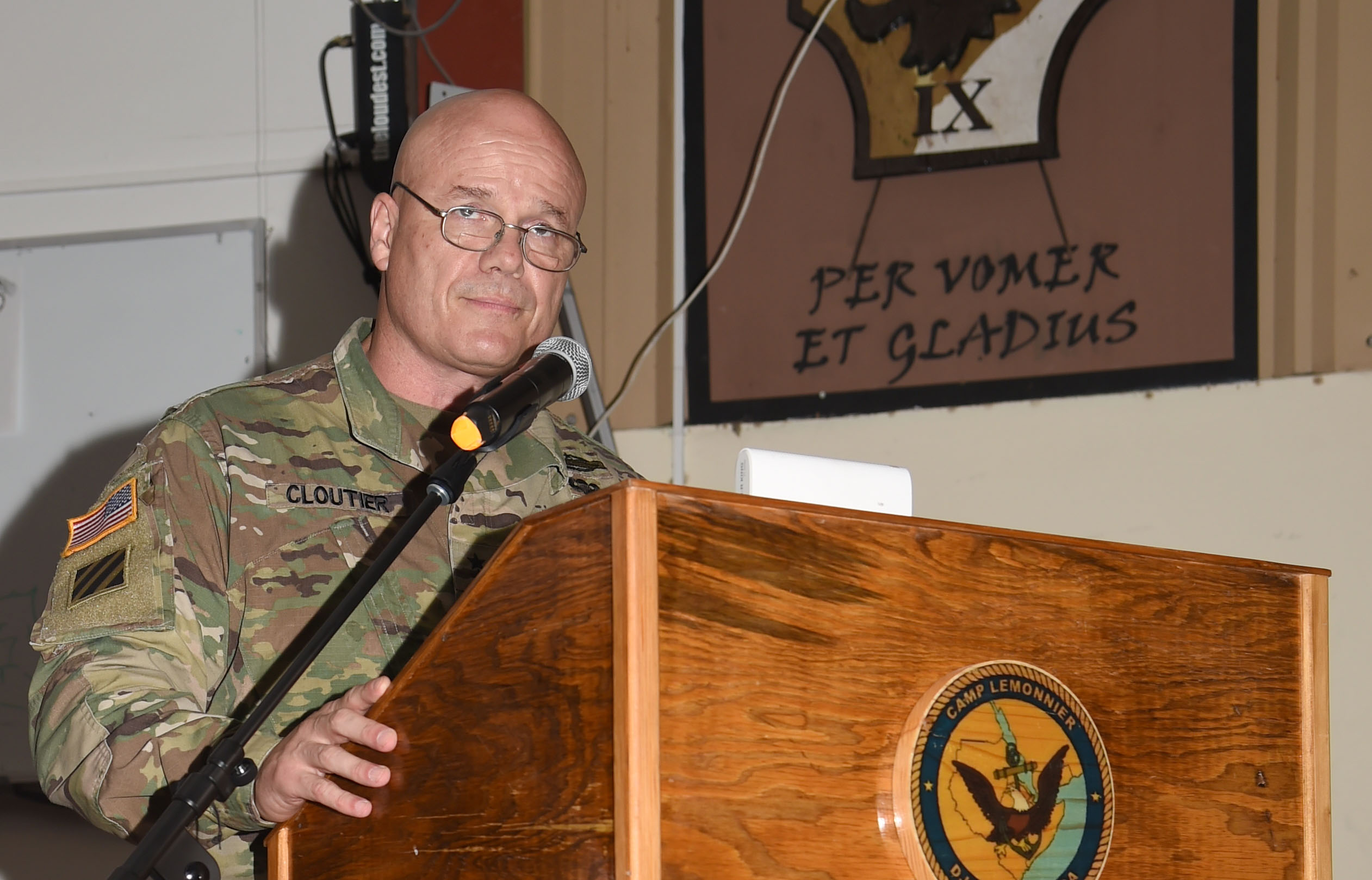 U.S. Army Maj. Gen. Roger Cloutier, Jr., U.S. Africa Command chief of staff, speaks to the crowd as the guest speaker of the Combined Joint Task Force – Horn of Africa 242nd Army Birthday Ball, at Camp Lemonnier, Djibouti, June 17, 2017. Approximately 300 deployed U.S. Soldiers, Sailors, Airmen, Marines, DoD civilians, and partner nations attended the event. (U.S. Air National Guard photo by Tech. Sgt. Andria Allmond)