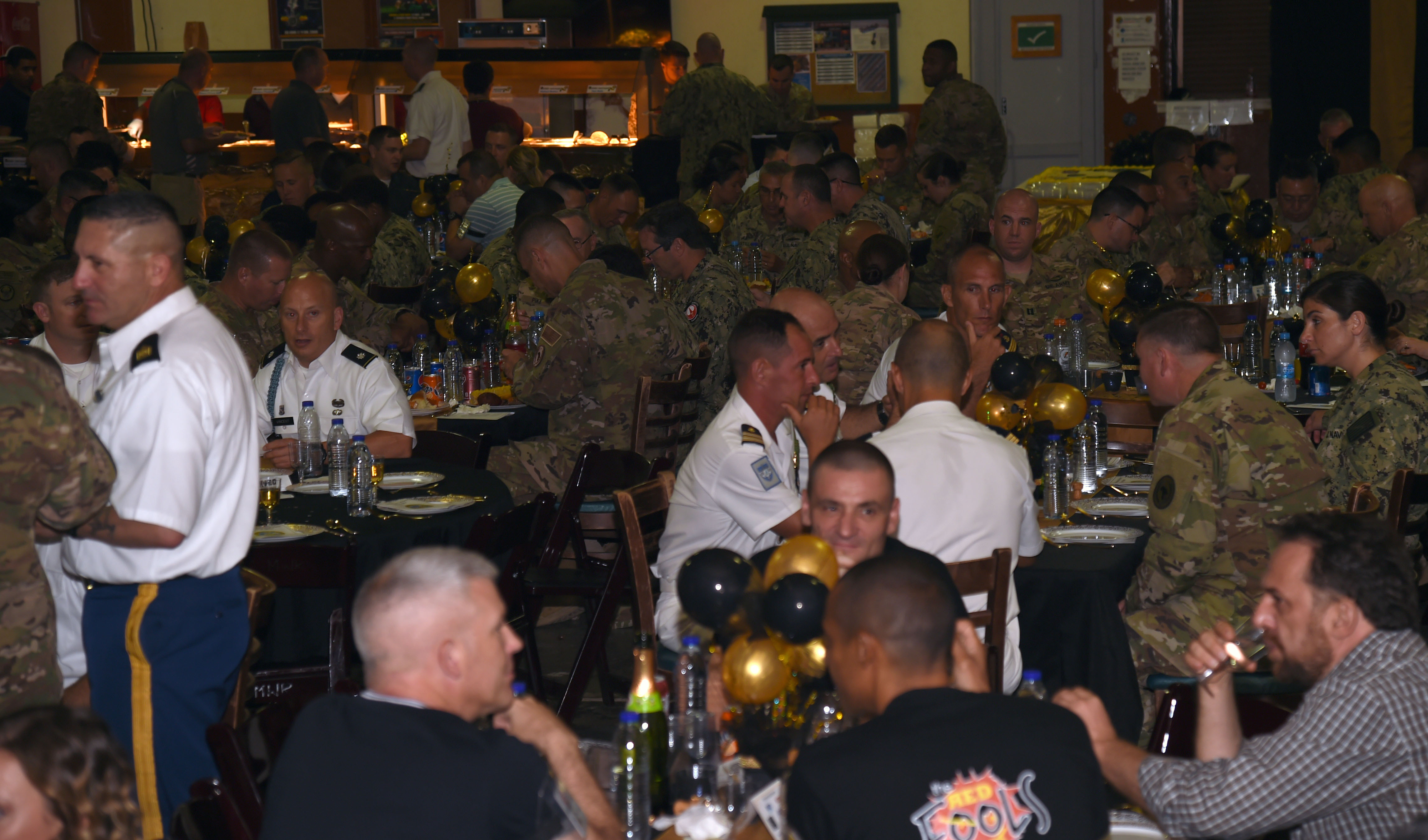 Approximately 300 deployed U.S. Soldiers, Sailors, Airmen, Marines, DoD civilians, and partner nations attended the Combined Joint Task Force – Horn of Africa 242nd Army Ball at Camp Lemonnier, Djibouti, June 17, 2017. U.S. Army Maj. Gen. Roger Cloutier, Jr., U.S. Africa Command chief of staff, served as the event's guest speaker. (U.S. Air National Guard photo by Tech. Sgt. Andria Allmond)