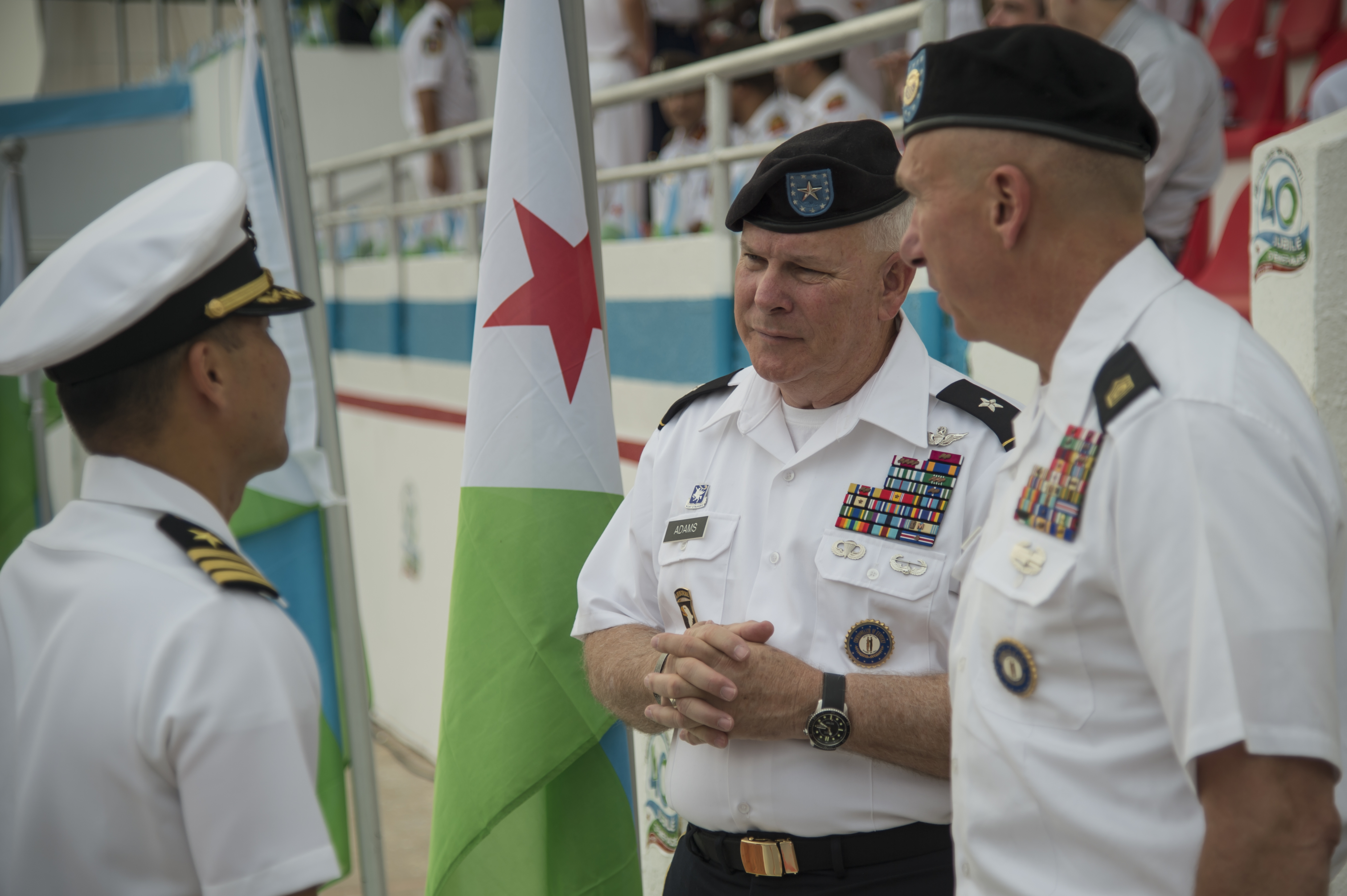 Brig. Gen. Benjamin F. Adams III, Commander Kentucky National Guard Land Component Command, attends along with U.S. service members from Camp Lemonnier, Djibouti, participating in a military parade in Djibouti City celebrating the country's 40th annual Independence Day, June 27, 2017. The Kentucky National Guard is partnered with Djibouti in the State Partnership Program. Hosted by the president of Djibouti, Ismail Omar Guelleh, the parade is held annually to mark Djibouti's declaration of independence from France.  In addition to the Djiboutian Armed Forces, service members from Italy, France, Japan, China and the U.S. also marched in the parade. The event offered an opportunity for the militaries of various nations with a presence in Djibouti to show support for shared goals in the region, including security and stability. (U.S. Air National Guard photo by Tech. Sgt. Joe Harwood)