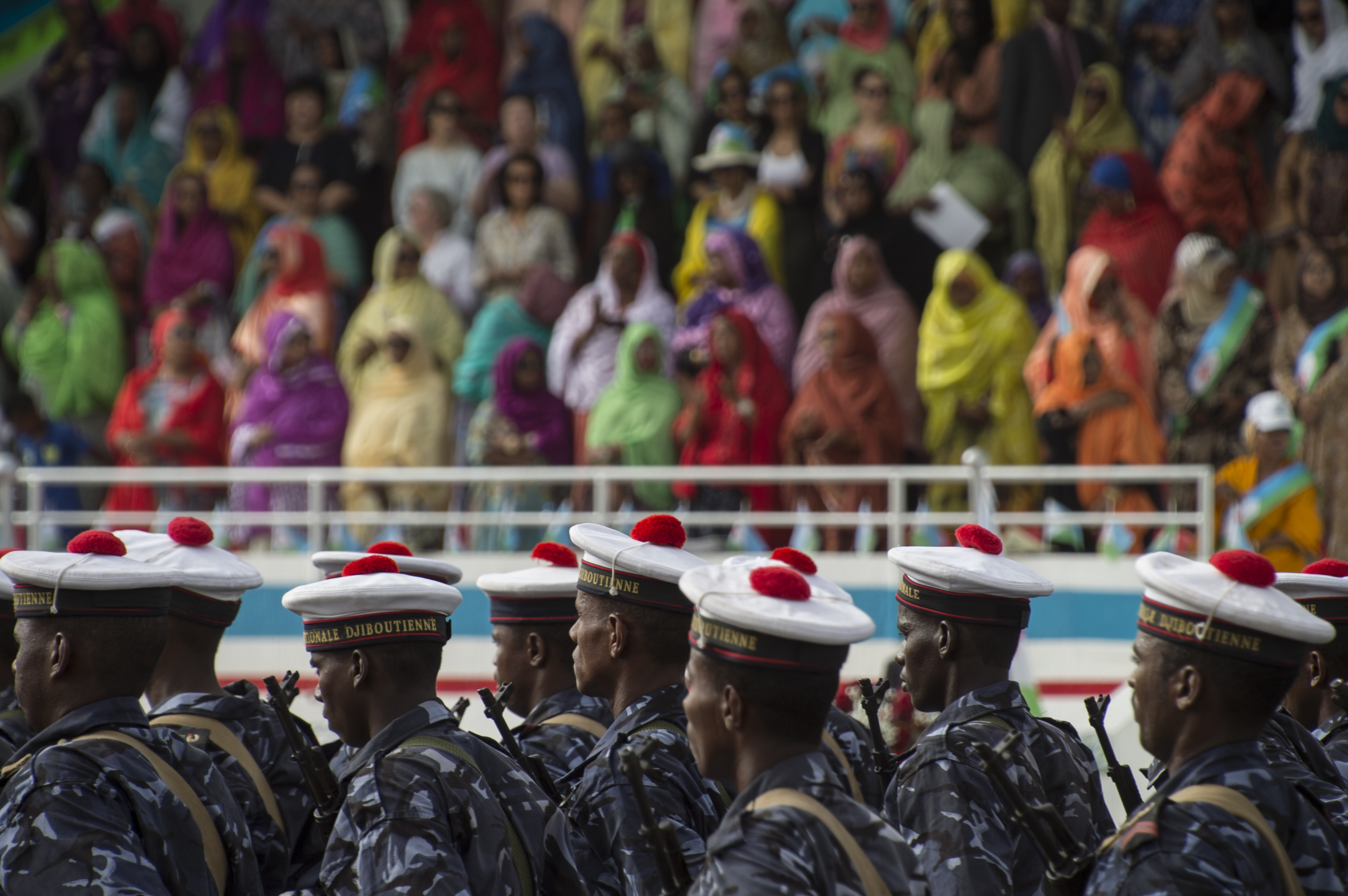 U.S. service members from Camp Lemonnier, Djibouti, participated in a military parade in Djibouti City celebrating the country's 40th annual Independence Day, June 27, 2017. Hosted by the president of Djibouti, Ismail Omar Guelleh, the parade is held annually to mark Djibouti's declaration of independence from France.  In addition to the Djiboutian Armed Forces, service members from Italy, France, Japan, China and the U.S. also marched in the parade. The event offered an opportunity for the militaries of various nations with a presence in Djibouti to show support for shared goals in the region, including security and stability. (U.S. Air National Guard photo by Tech. Sgt. Joe Harwood)