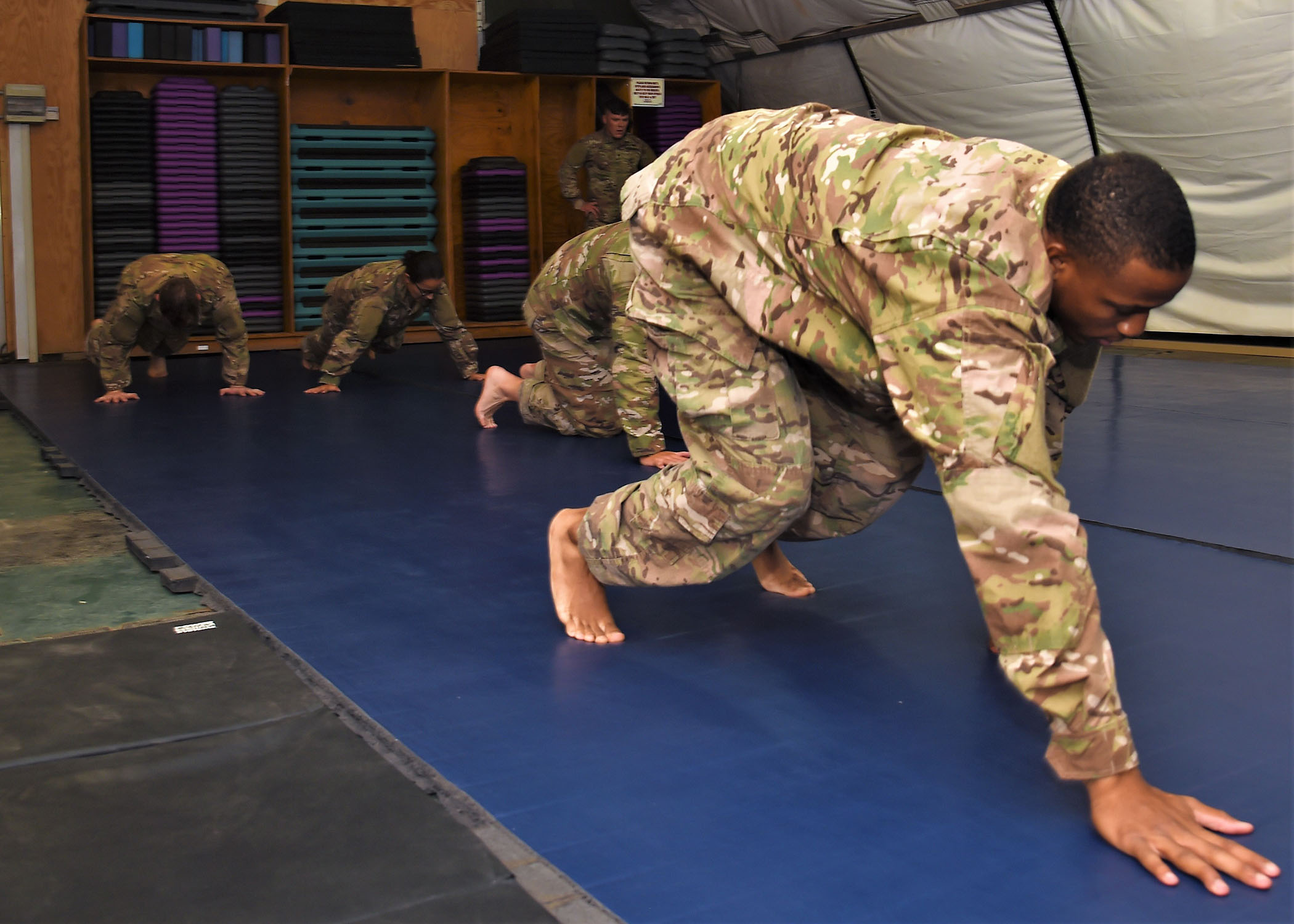 Members of the 1st Battalion, 153rd Infantry Regiment deployed with the Combined Joint Task Force - Horn of Africa conducted a class for combatives instruction at Camp Lemonnier, Djibouti, June 26 - 30, 2017. The weeklong course will train approximately 30 Soldiers to be instructors for first-level hand-to-hand combat. (U.S. Air National Guard photo by Tech. Sgt. Andria Allmond)