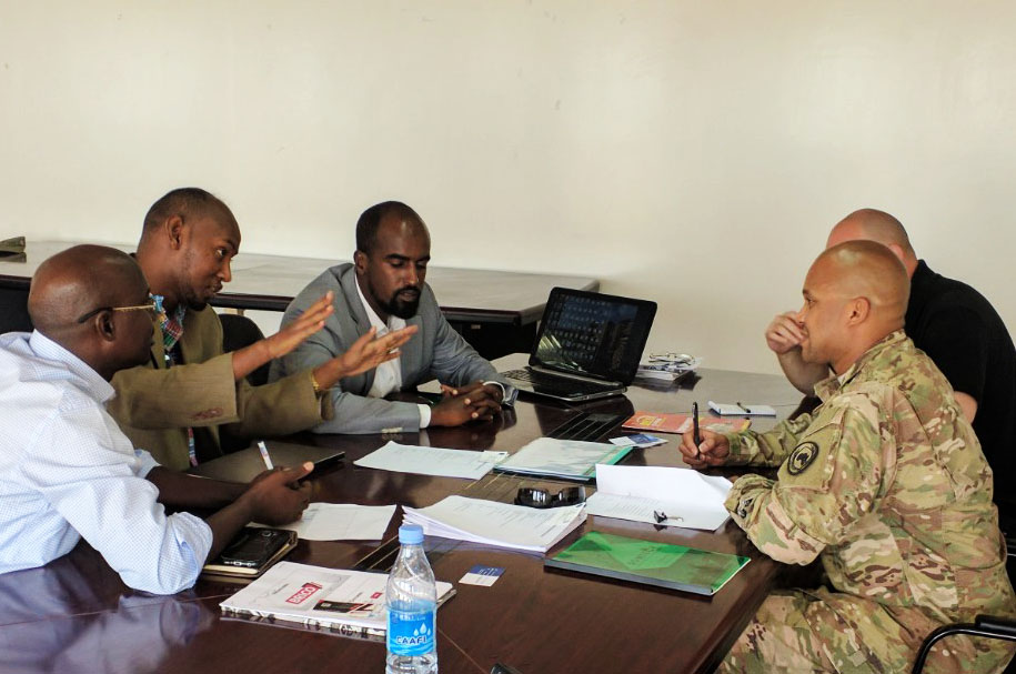 Combined Joint Task Force-Horn of Africa hosted a successful vendor day in Mogadishu, Somalia, July 12, 2017.  This event offered an opportunity for U.S. Army Maj. Curtis Sampson, CJTF-HOA contracting officer from Camp Lemonnier, Djibouti, to meet with Somali businesses and explore the possibilities of sourcing services locally, saving time and expense in the long run.  This also promotes stability and economic growth within the CJTF-HOA area of responsibility.  Sixteen local vendors came together and received information on the workings of the U.S. contracting systems, with the aim to aid in streamlining access for Somali businesses to competitively compete for contracts. (Courtesy photos provided by U.S. Army Maj. Curtis Sampson/released)