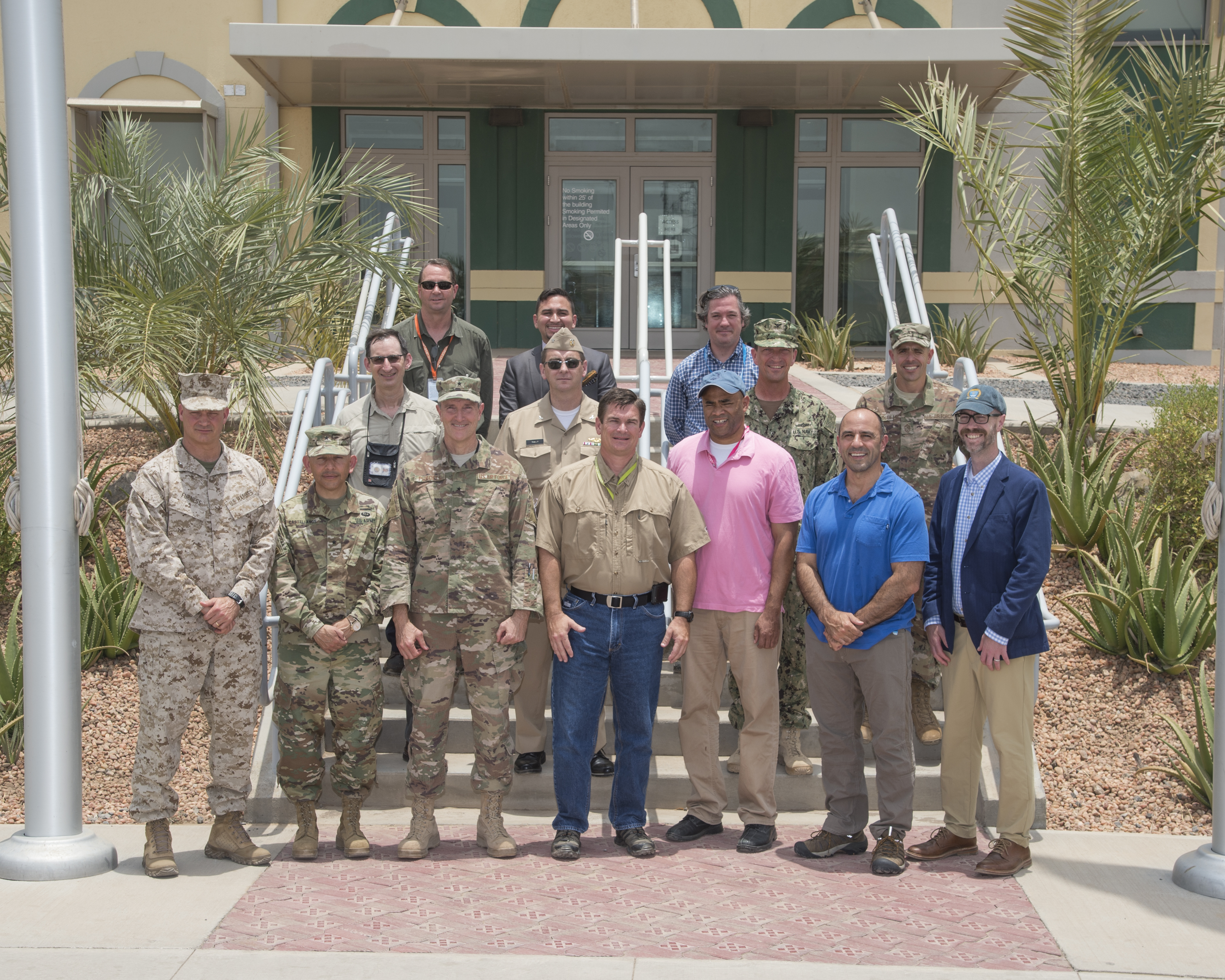 A congressional delegation (CODEL) joins in a group photo with leadership from both the U.S. Embassy-Djibouti and Combined Joint Task Force - Horn of Africa during a three day visit to Camp Lemonnier, Djibouti, on Aug. 26, 2017. From there, the CODEL made day trips to various forward operating locations in the CJTF-HOA area of responsibility to meet U.S. service members and learn more about the U.S. military mission in East Africa. The CODEL included the following congressmen, all of whom are on the House Armed Service Committee; Rep. Austin Scott (R-Ga.) representing the 8th District of Georgia; Rep. Jimmy Panetta (D-Calif.) representing the 20th District of California; and Rep. Marc Veasey (D-Texas) representing the 33rd District of Texas. (U.S. Air National Guard photo by Tech. Sgt. Joe Harwood)