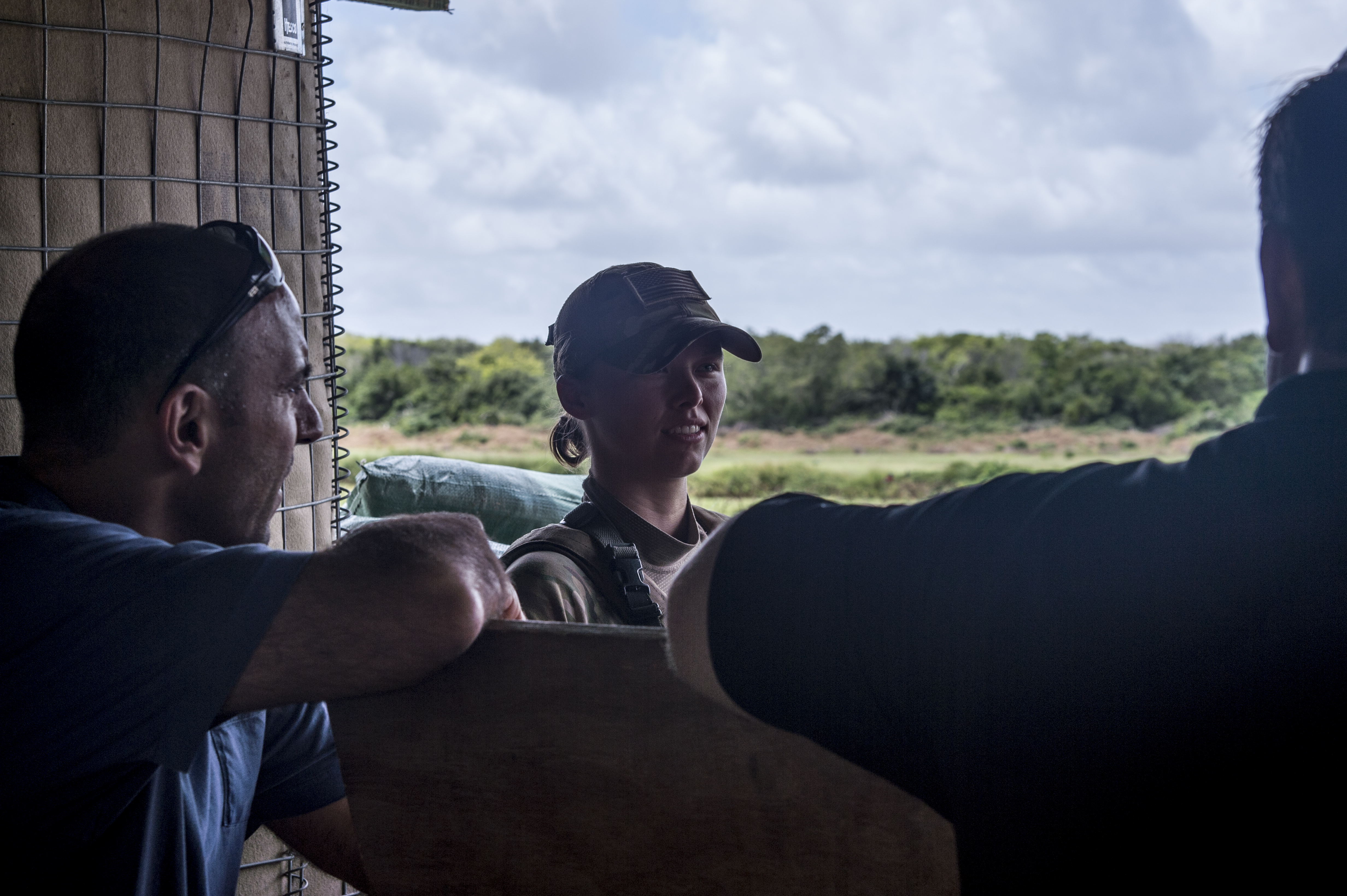Members of a congressional delegation (CODEL) visit with a U.S. Airman at a defensive fighting position at a forward operating location within the Combined Joint Task Force-Horn of Africa area of responsibility on Aug. 27, 2017. During their three-day visit to the region, the CODEL met with U.S. service members and learned more about the U.S. military mission in East Africa. The CODEL included the following congressmen, all of whom are on the House Armed Service Committee; Rep. Austin Scott (R-Ga.) representing the 8th District of Georgia; Rep. Jimmy Panetta (D-Calif.) representing the 20th District of California; and Rep. Marc Veasey (D-Texas) representing the 33rd District of Texas. (U.S. Air National Guard photo by Tech. Sgt. Joe Harwood)