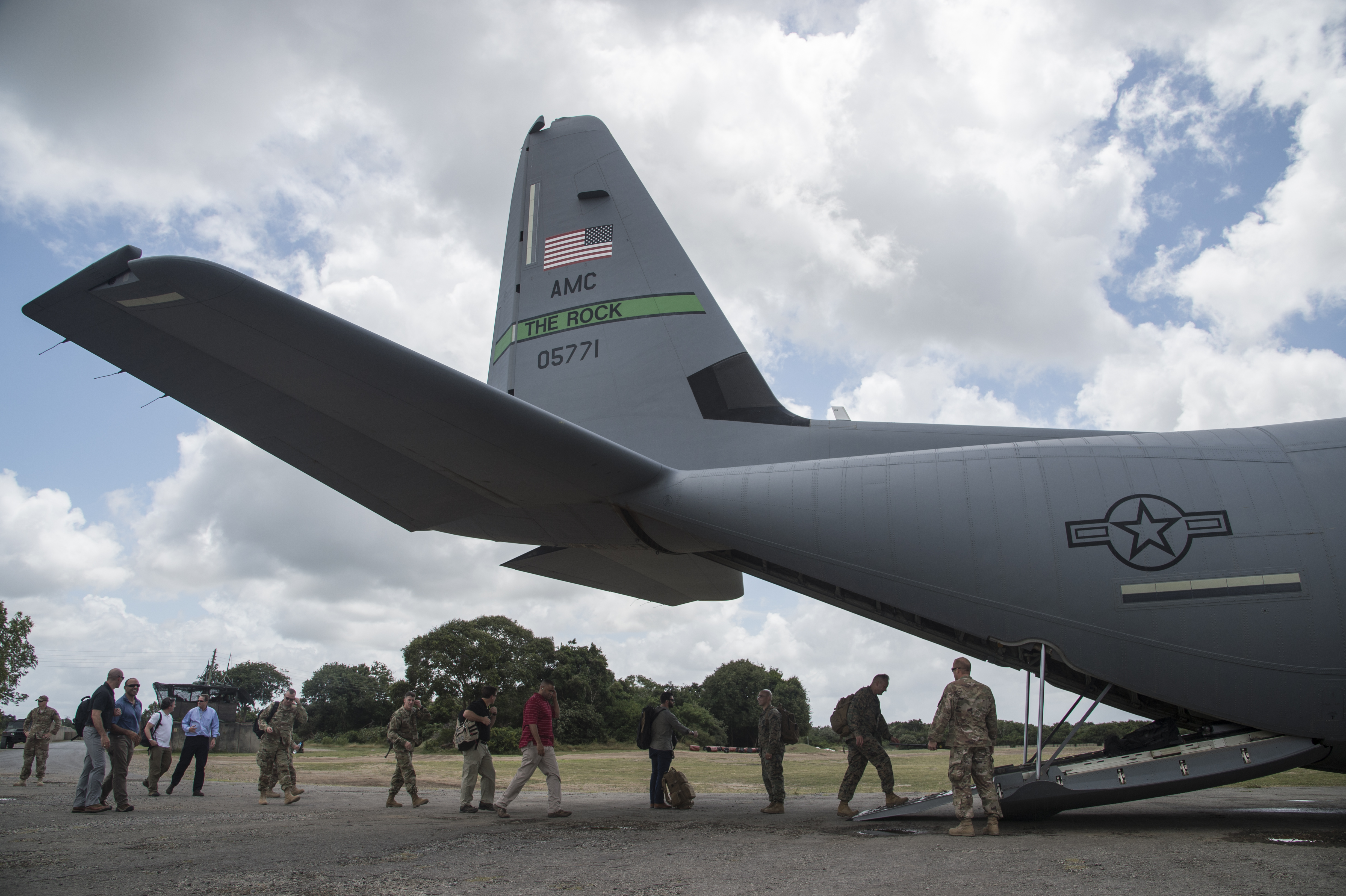 A congressional delegation (CODEL) and military escorts board a C-130J Hercules on Aug. 27, 2017, as they visit various locations within the Combined Joint Task Force - Horn of Africa area of responsibility. During their three-day visit, the CODEL met U.S. service members and learned more about the U.S. military mission in East Africa. The CODEL included the following congressmen, all of whom are on the House Armed Service Committee; Rep. Austin Scott (R-Ga.) representing the 8th District of Georgia; Rep. Jimmy Panetta (D-Calif.) representing the 20th District of California; and Rep. Marc Veasey (D-Texas) representing the 33rd District of Texas. (U.S. Air National Guard photo by Tech. Sgt. Joe Harwood)