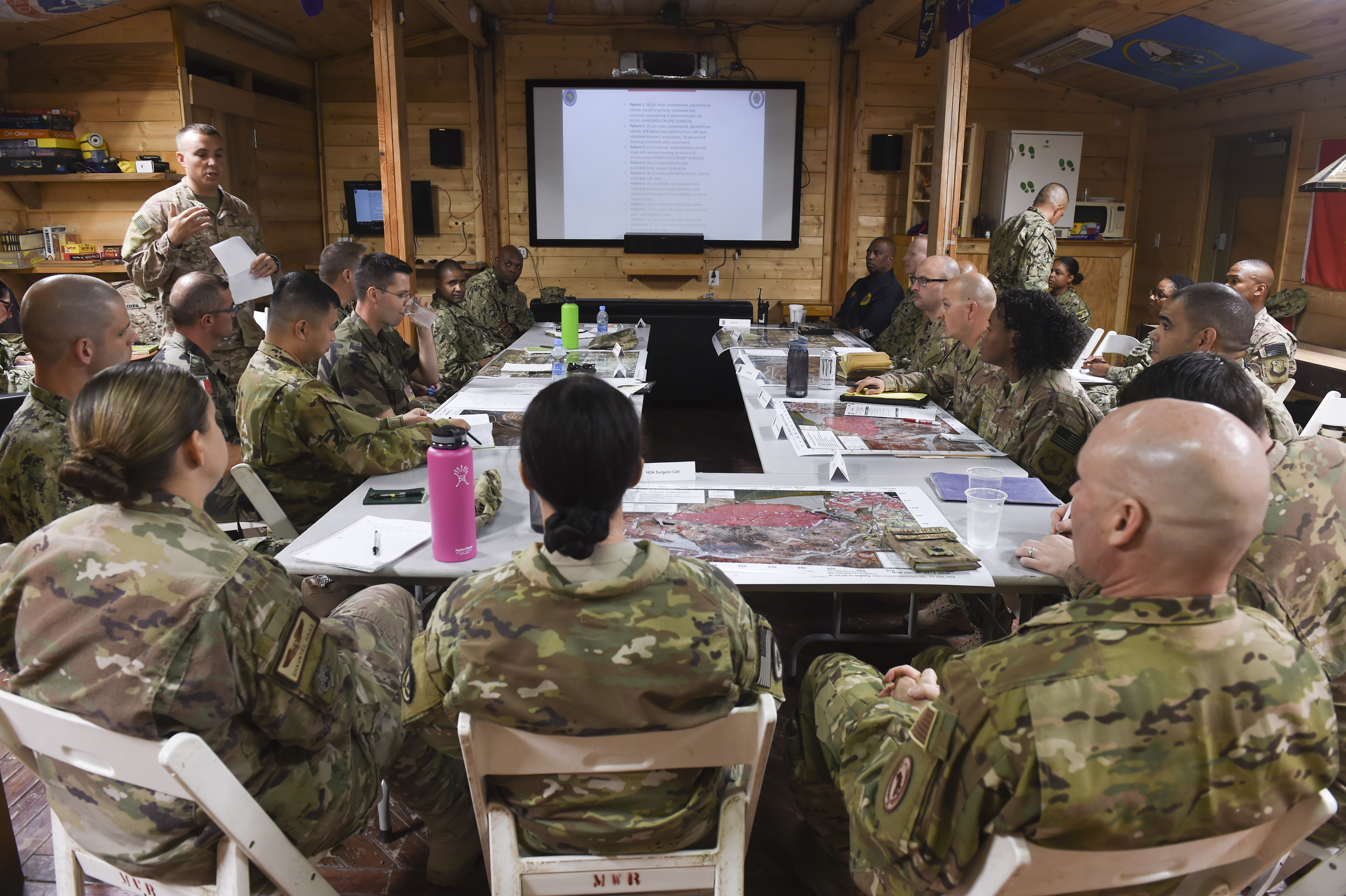 U.S. military personnel assigned to Camp Lemonnier and Combined Joint Task Force-Horn of Africa participated in a bilateral tabletop exercise with French forces, focusing on multiple unit support and response to a mass casualty incident at Camp Lemonnier, Sept. 6, 2017. The tabletop exercise was a first step in preparation for future bilateral exercises with the French military based in Djibouti to further strengthen international military relationships and medical-response capabilities. (U.S. Air Force photo by Staff Sgt. Eboni Prince)