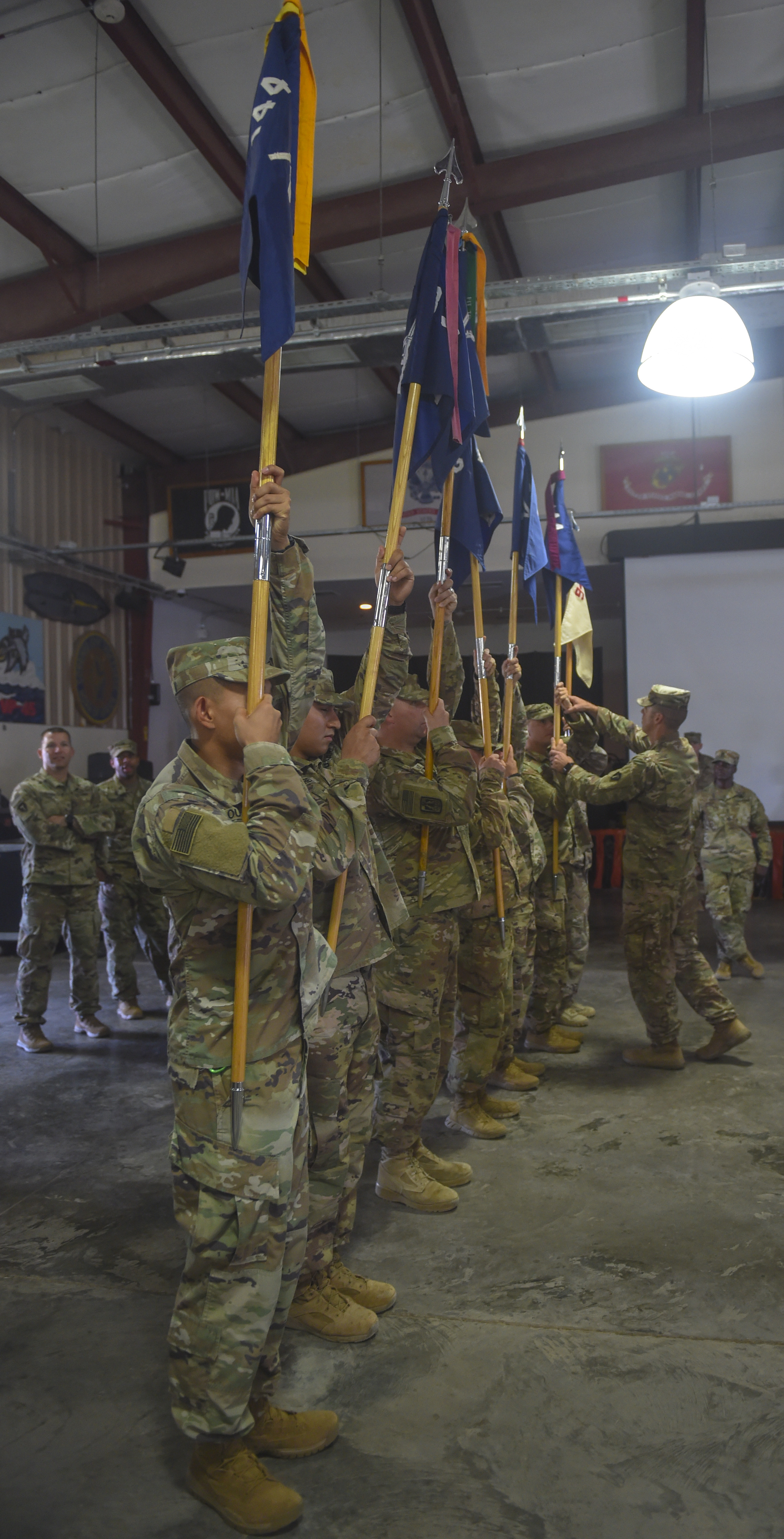 U.S. Army Soldiers assigned to the 3rd Battalion, 144th Infantry Regiment conduct rehearsals before a transfer of authority ceremony at Camp Lemonnier, Djibouti, Nov. 1, 2017. During the ceremony, the Soldiers officially took over the security force mission for the Combined Joint Task Force – Horn of Africa's area of responsibility from the 1st Battalion, 153rd Infantry Regiment. (U.S. Air Force photo by Staff Sgt. Timothy Moore)
