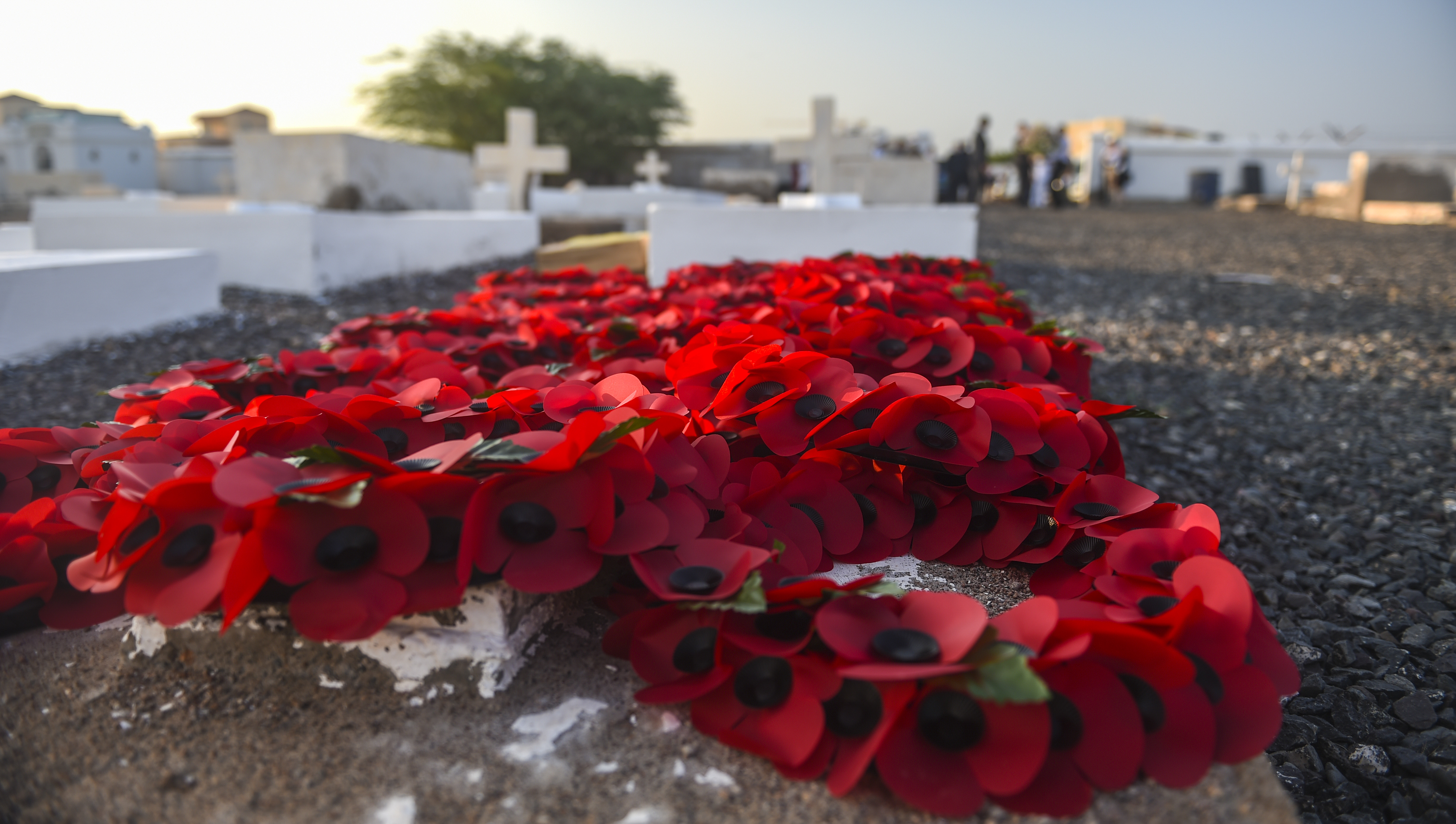 "Poppy wreaths lay on the ground before a Remembrance Day ceremony at the Djibouti New European Cemetery near Camp Lemonnier, Djibouti, Nov. 7, 2017.  Inspired by the John McCrae poem ""In Flanders Fields,"" poppies are often used during Remembrance Day ceremonies. (U.S. Air Force photo by Staff Sgt. Timothy Moore)"