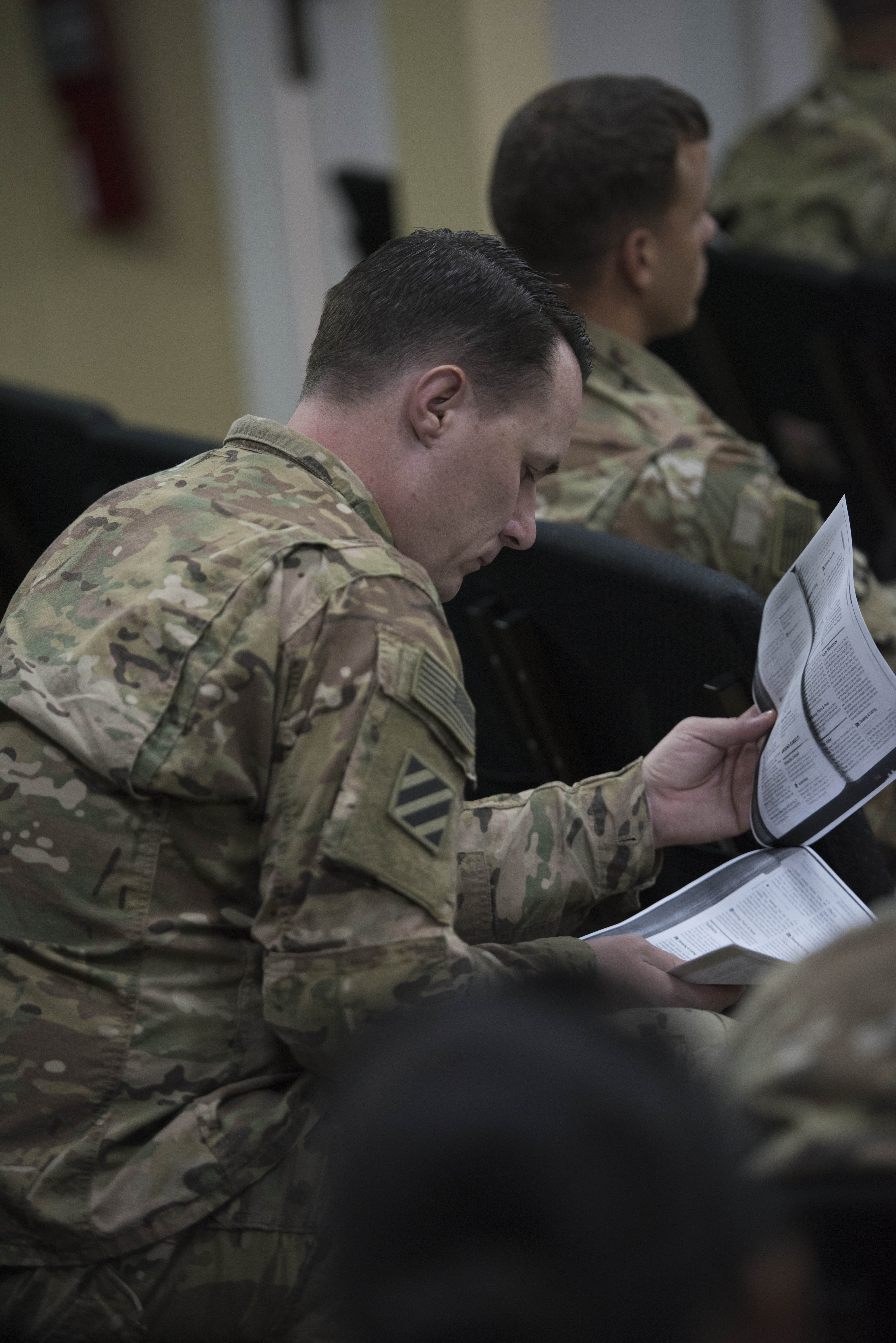U.S. Army Maj. Baruch Zobrist, Deputy Force Surgeon for the Combined Joint Task Force – Horn of Africa Surgeon Cell, reviews information given during a Military Tropical Medicine Course hosted by the CJTF-HOA Surgeon Cell and the Navy Medicine Professional Development Center at Camp Lemonnier, Djibouti, Nov. 14, 2017. Medical professionals from across the U.S. military services, foreign militaries and local community joined together during the three-day course to discuss challenges posed to medical personnel providing care for troops operating within the Horn of Africa and the East African region. (U.S. Air National Guard photo by Staff Sgt. Allyson L. Manners)