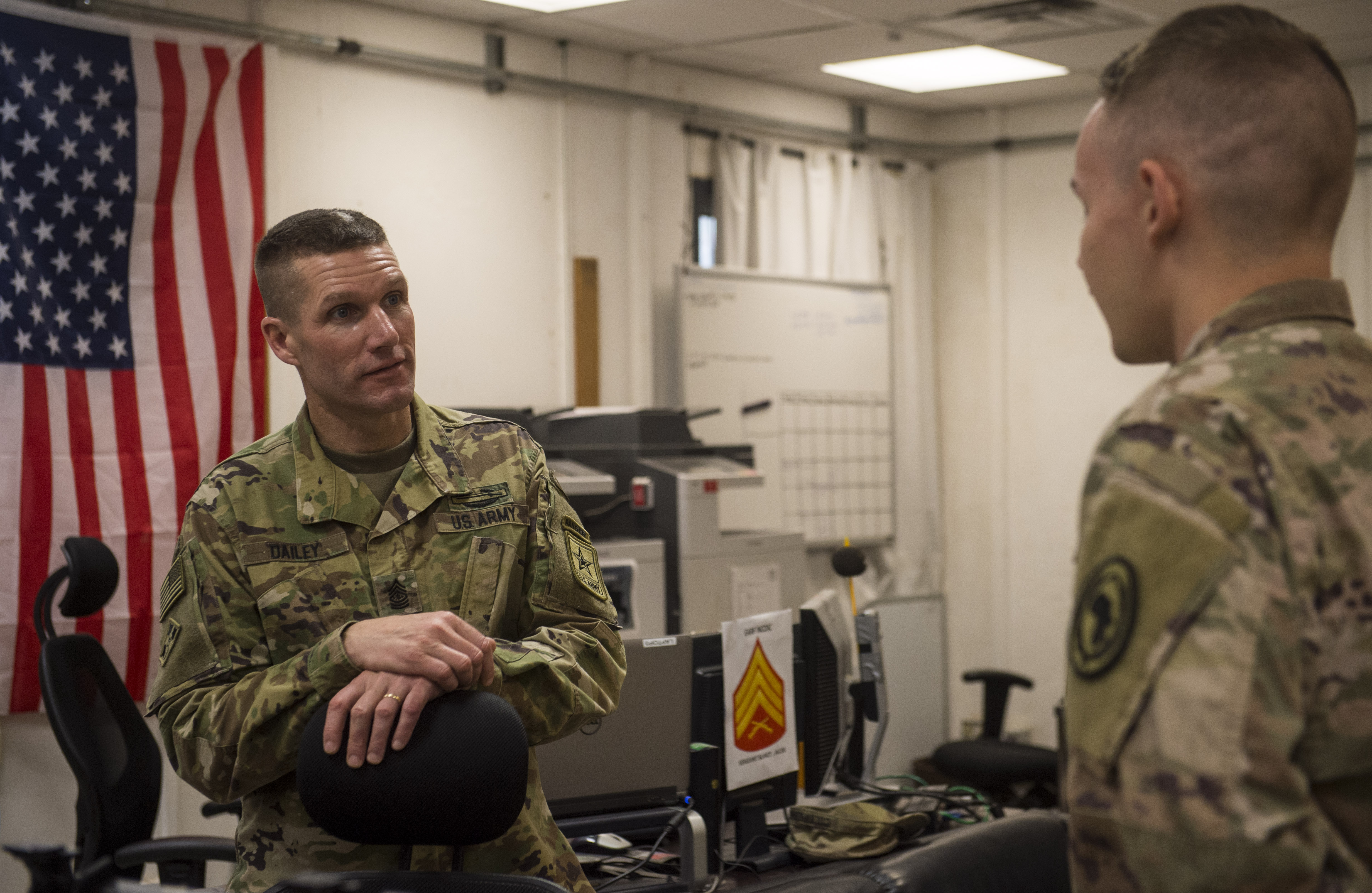 U.S. Sgt. Maj. of the Army Daniel Dailey visits speaks with a Soldier assigned to Combined Joint Task Force - Horn of Africa during his visit to Camp Lemonnier, Djibouti, Dec. 21, 2017. Camp Lemonnier was Dailey's last stop before returning to the United States as he visited with Soldiers and other service members deployed and away from their families during the holidays. (U.S. Air Force photo by Staff Sgt. Timothy Moore)