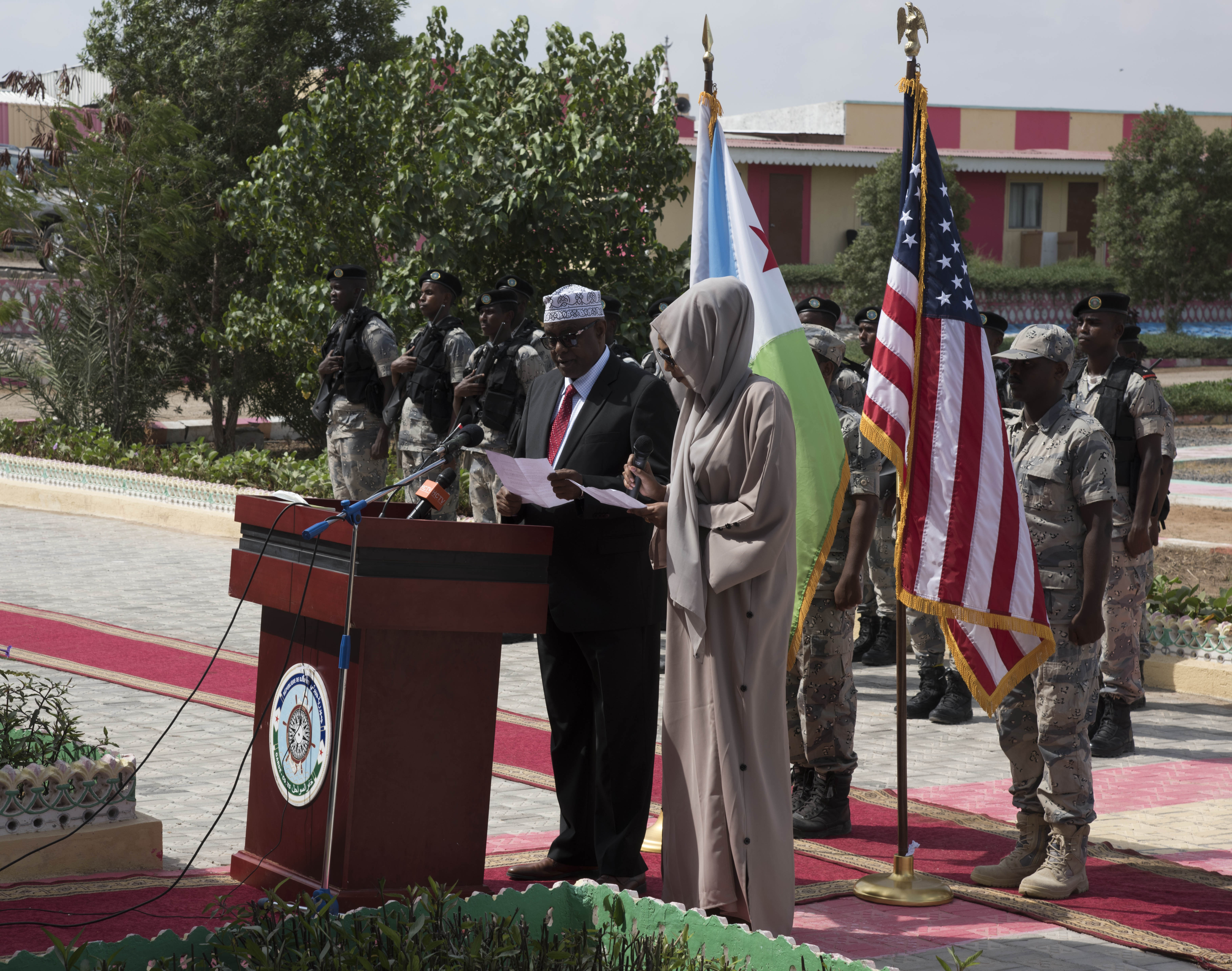 Mohamed Moalin Hassan, state minister for the ministry of internal security, Federal Government of Somalia, gives remarks during the opening ceremony for exercise Cutlass Express 2018 Jan. 31 in Djibouti, Djibouti. Cutlass Express is designed to improve regional cooperation, maritime domain awareness and information sharing practices to increase capabilities between the U.S., East African and Western Indian Ocean nations. (U.S. Air National Guard Photo by Staff Sgt. Allyson Manners / Released)